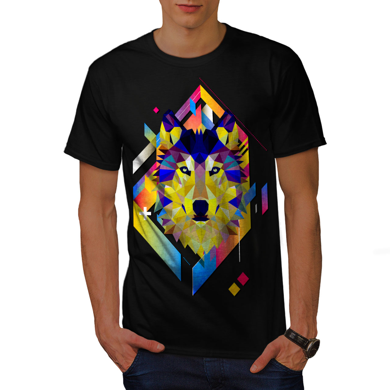 Wellcoda Colourful Wolf Shape Mens T Shirt Geometry Graphic Design