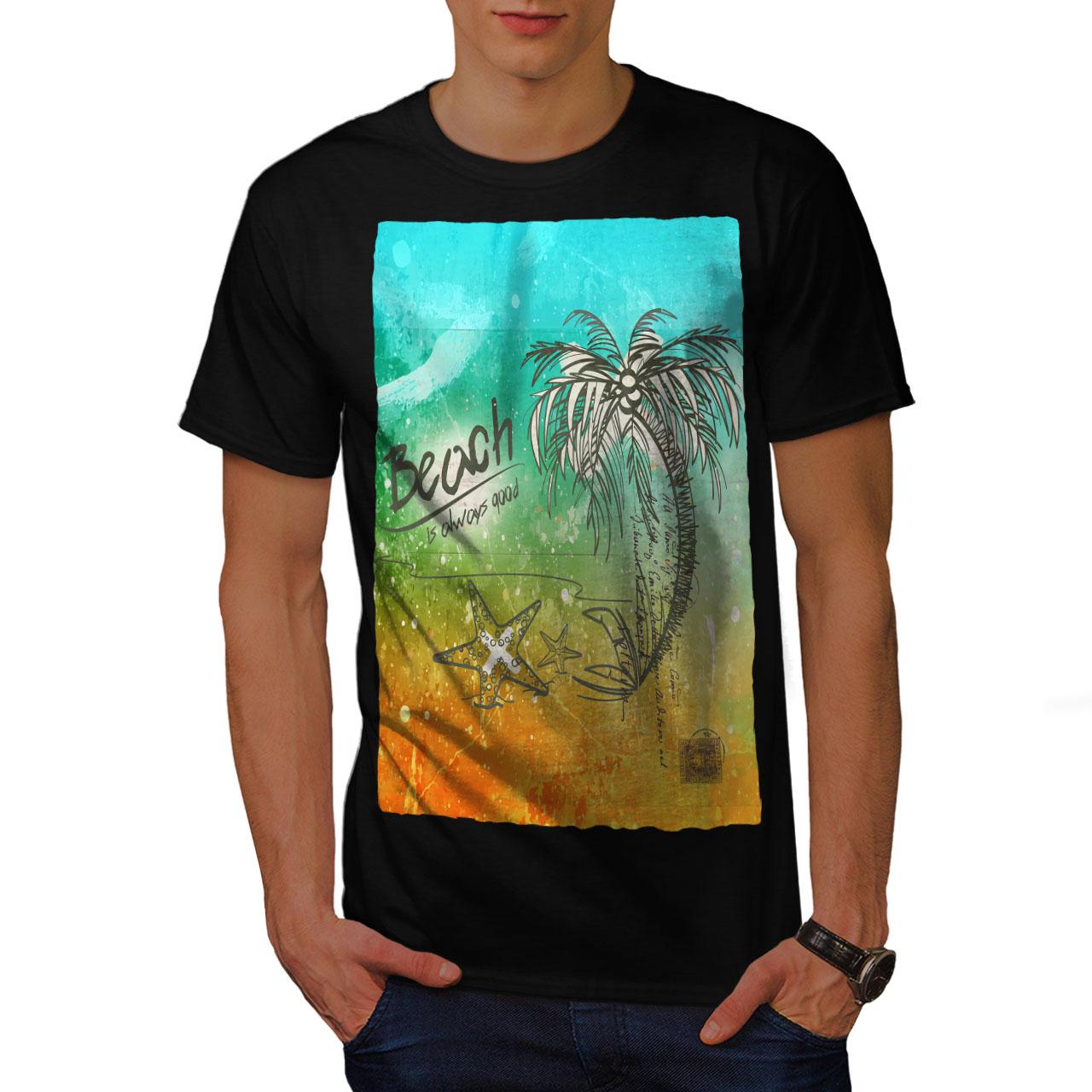 Mens Capital City Print Holiday Tee T-Shirt Short Sleeves Coloured Sleeves