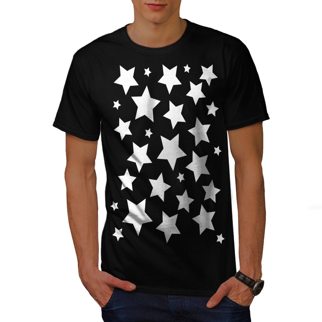 Wellcoda Star Shine Mens Long Sleeve T-shirt Pattern Graphic Design