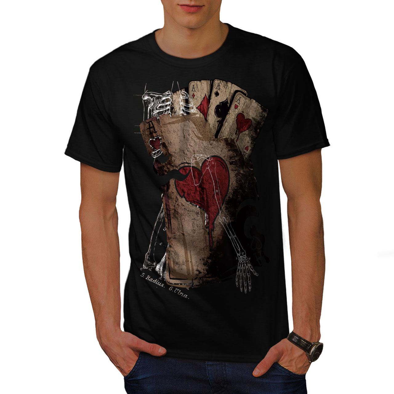 Wellcoda-Poker-Gamble-Squelette-T-shirt-homme-effrayant-conception-graphique-imprime-Tee