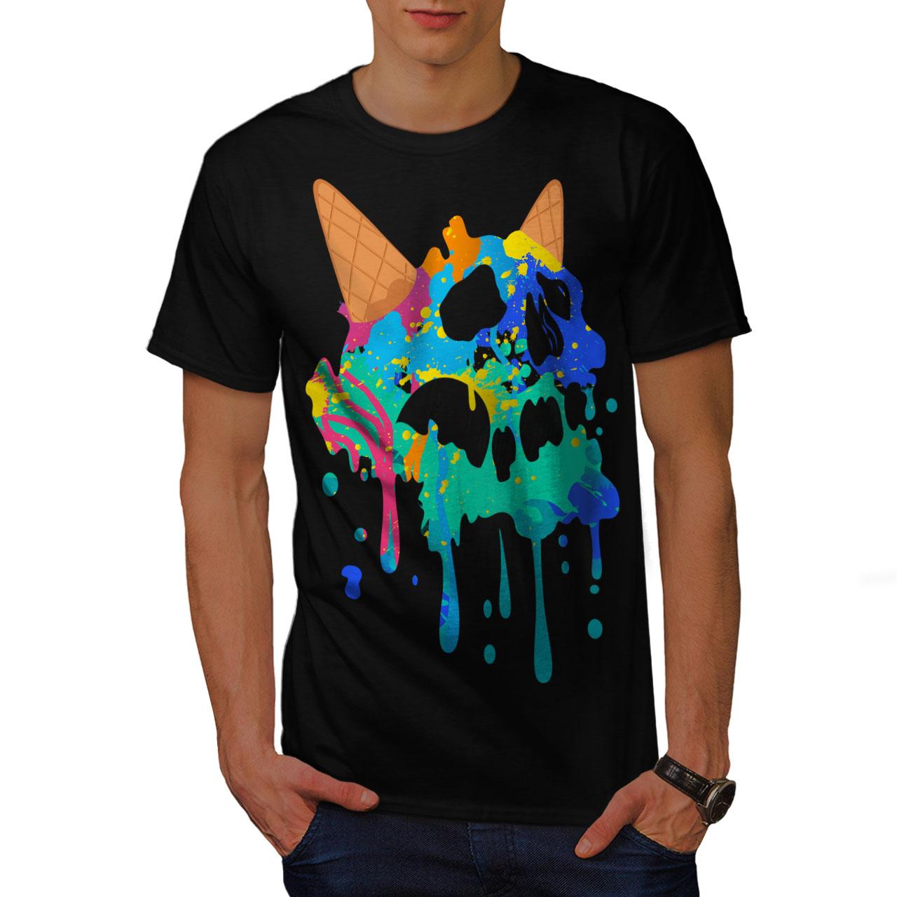 Wafer Graphic Design Tee Wellcoda Skull Ice Cream Junk Womens V-Neck T-shirt