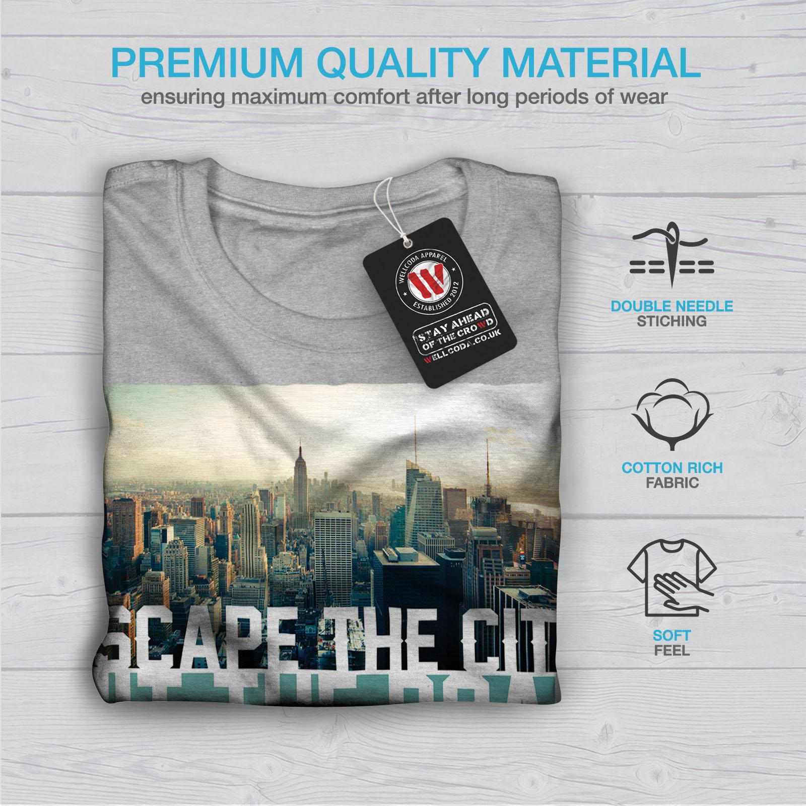 Wellcoda-Escape-The-City-Herren-T-Shirt-Lifestyle-Grafikdesign-Printed-Tee Indexbild 19