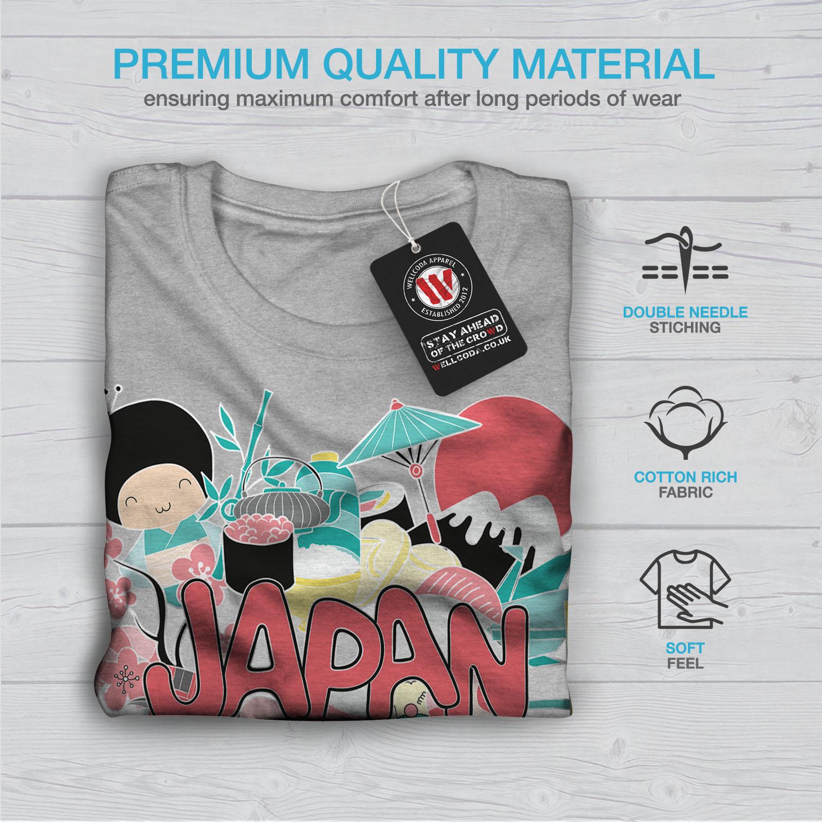 Wellcoda Japan Culture Mens T-shirt Culture Graphic Design Printed Tee