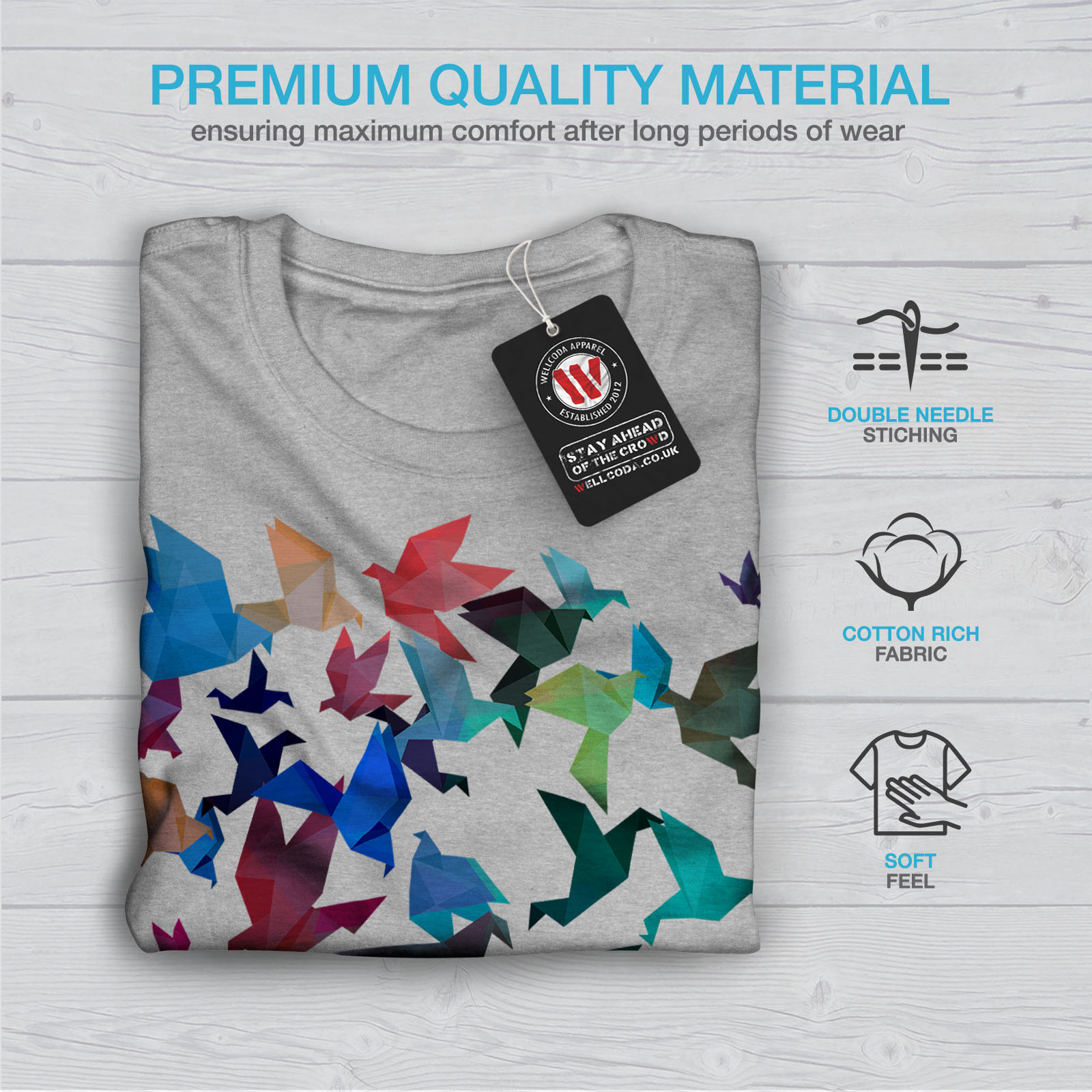 Wellcoda-Origami-Bird-Colors-Mens-T-shirt-Craft-Graphic-Design-Printed-Tee thumbnail 19