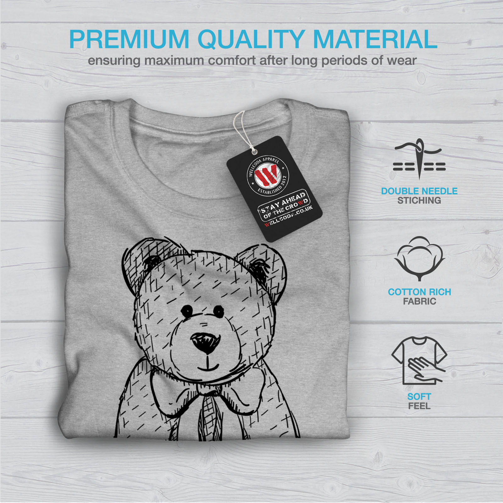 miniature 19 - Wellcoda Hug Me Teddy Bear Mens T-shirt, Nice & Graphic Design Printed Tee