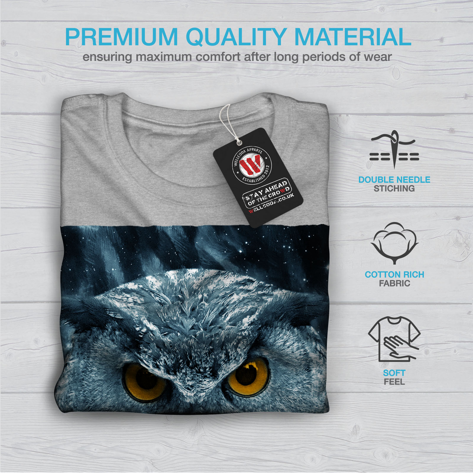 miniature 19 - Wellcoda-Wild-Looking-Owl-Mens-T-shirt-Mother-Graphic-Design-Printed-Tee