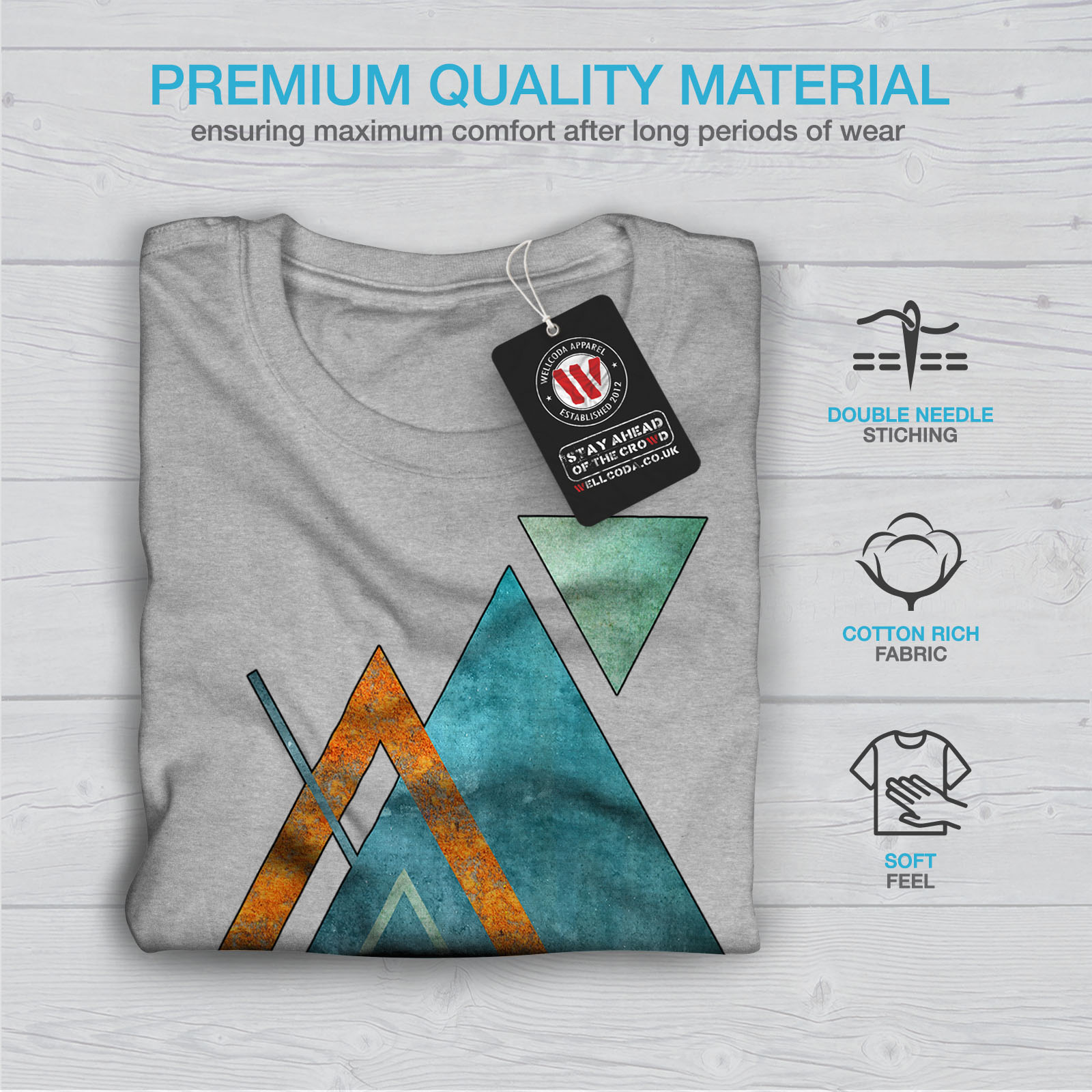 Wellcoda-Abstract-Triangle-T-shirt-homme-forme-design-graphique-imprime-Tee miniature 19