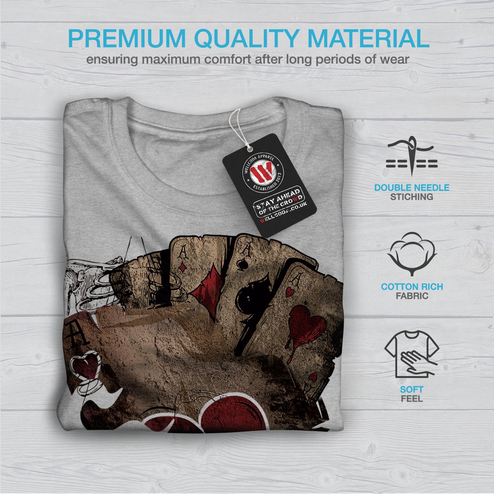 Wellcoda-Poker-Gamble-Squelette-T-shirt-homme-effrayant-conception-graphique-imprime-Tee miniature 19