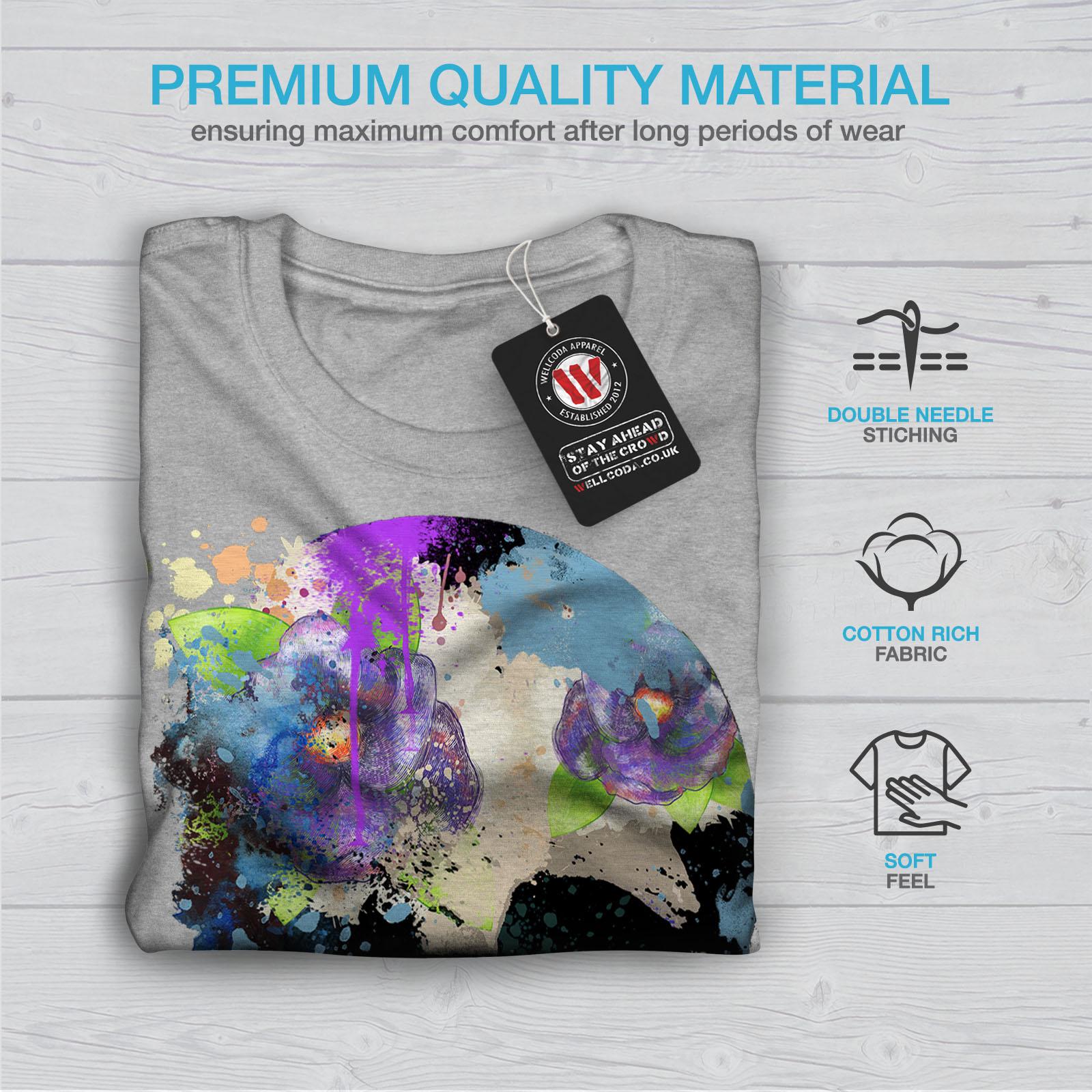 Flower Graphic Design Printed Tee Wellcoda Skull Colorful Mens T-shirt