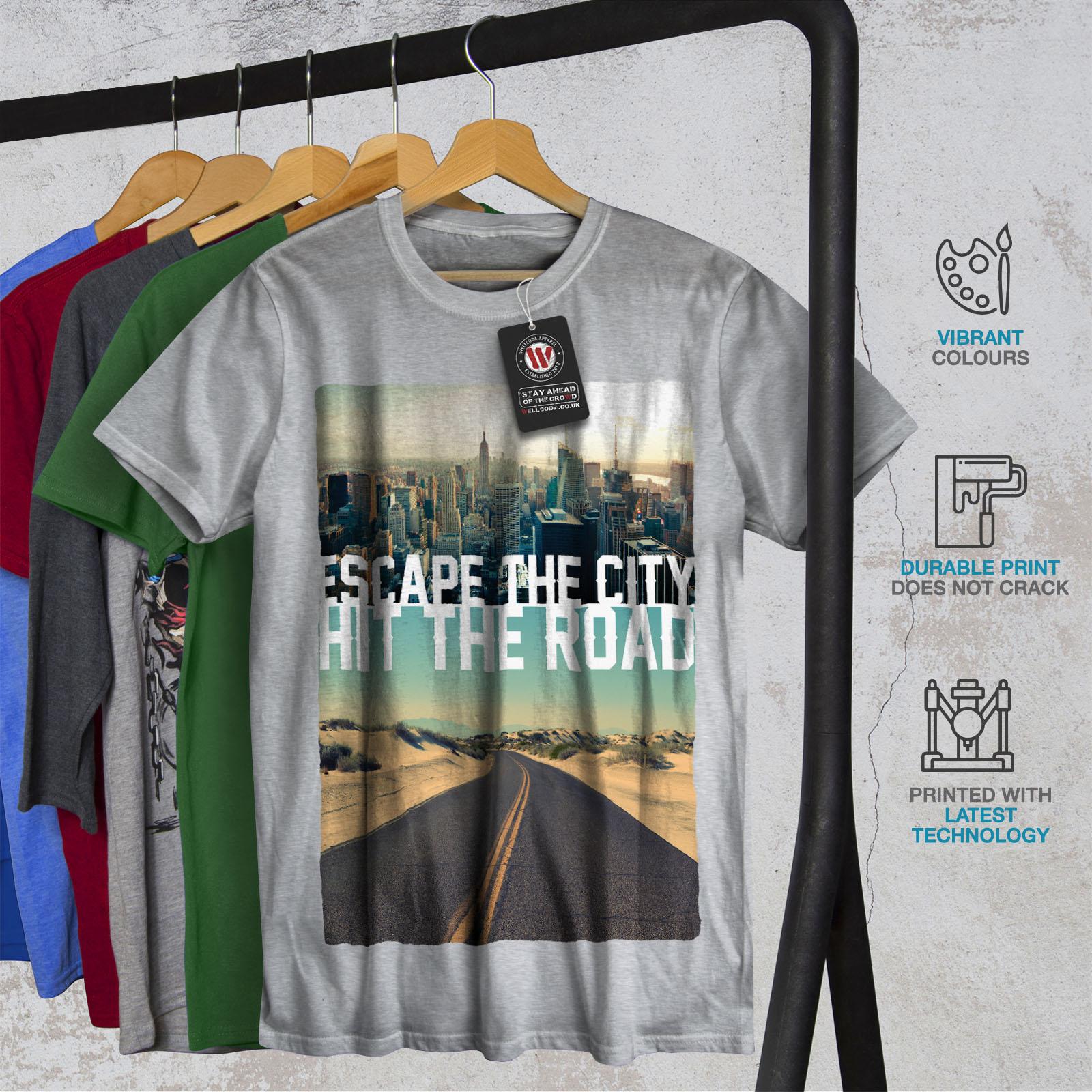 Wellcoda-Escape-The-City-Herren-T-Shirt-Lifestyle-Grafikdesign-Printed-Tee Indexbild 18