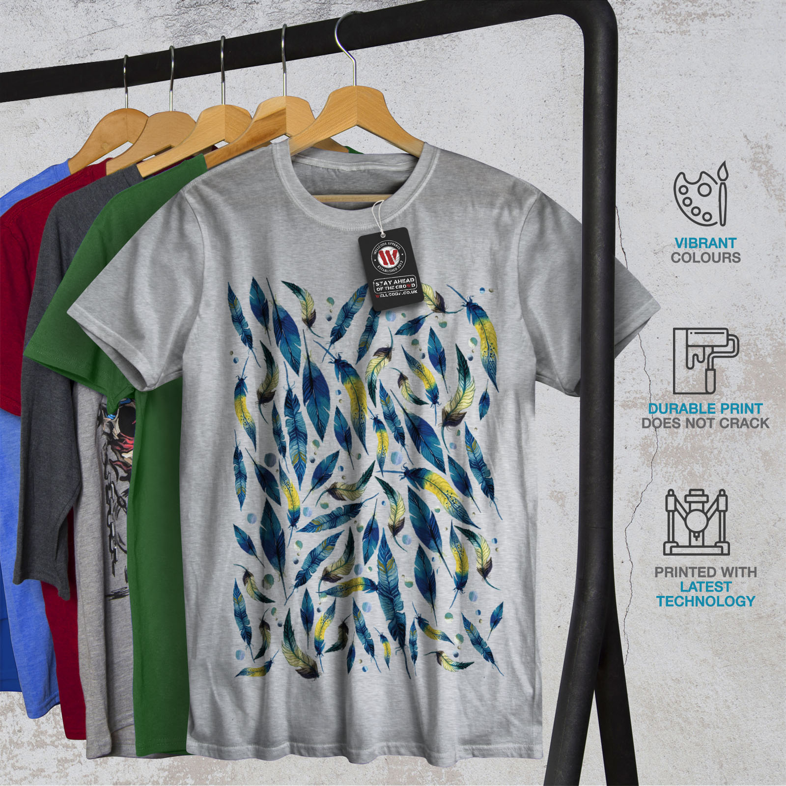 Wellcoda-fashion-Plumes-T-shirt-homme-Abstract-Design-graphique-imprime-Tee miniature 18