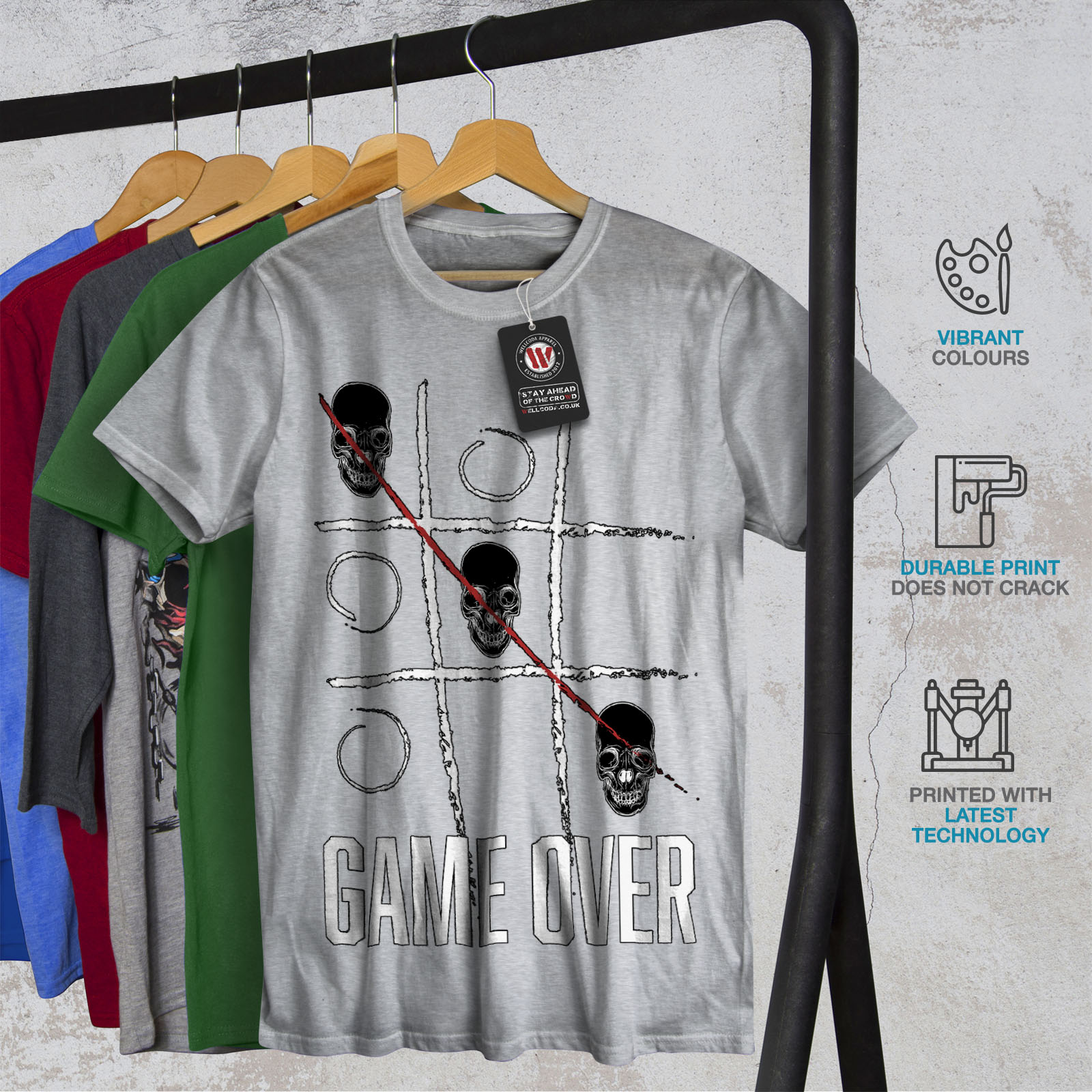 Wellcoda Game over Skull Geek Mens T-shirt Gaming Graphic Design Printed Tee