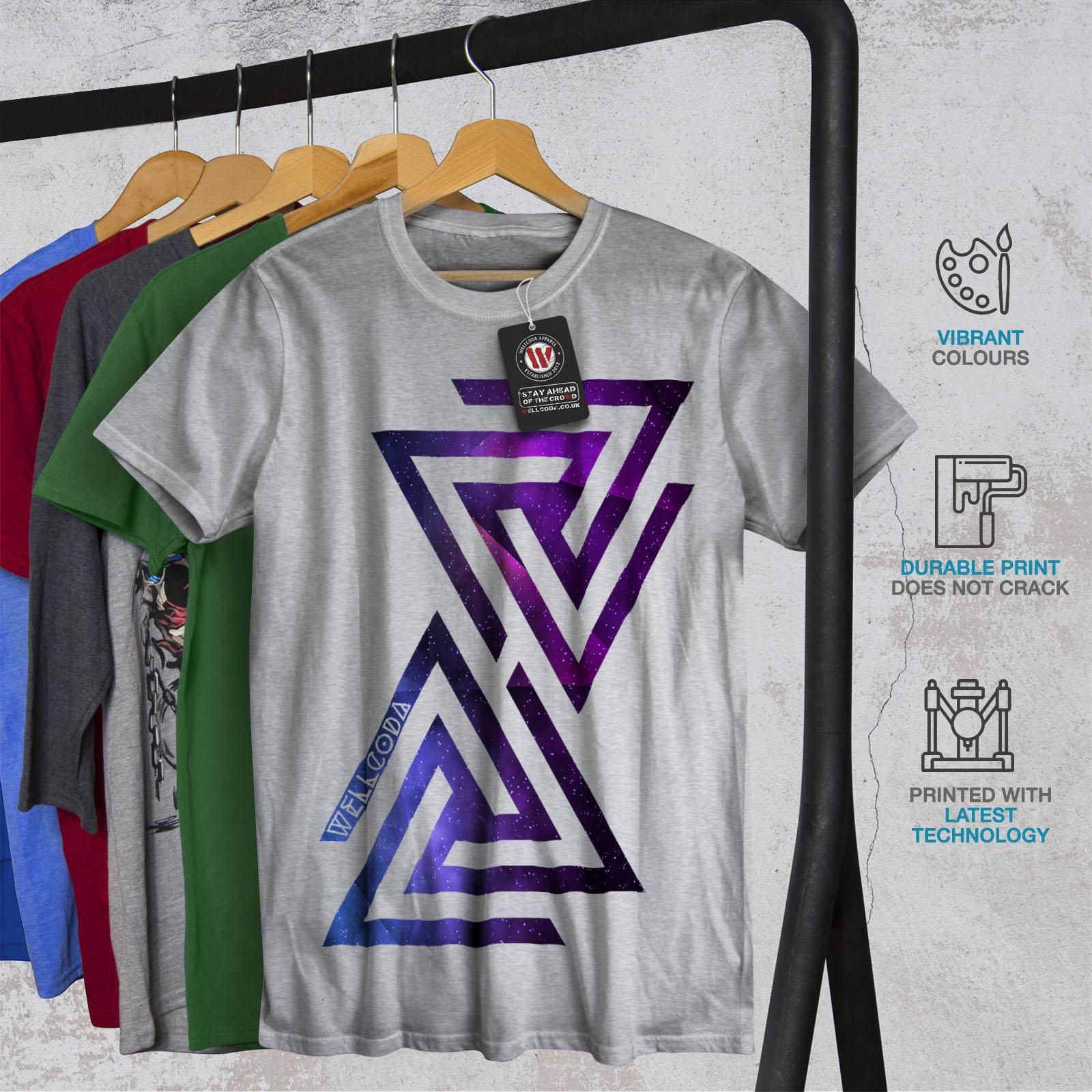 Galaxy Graphic Design Printed Tee Wellcoda Triangle Universe Mens T-shirt