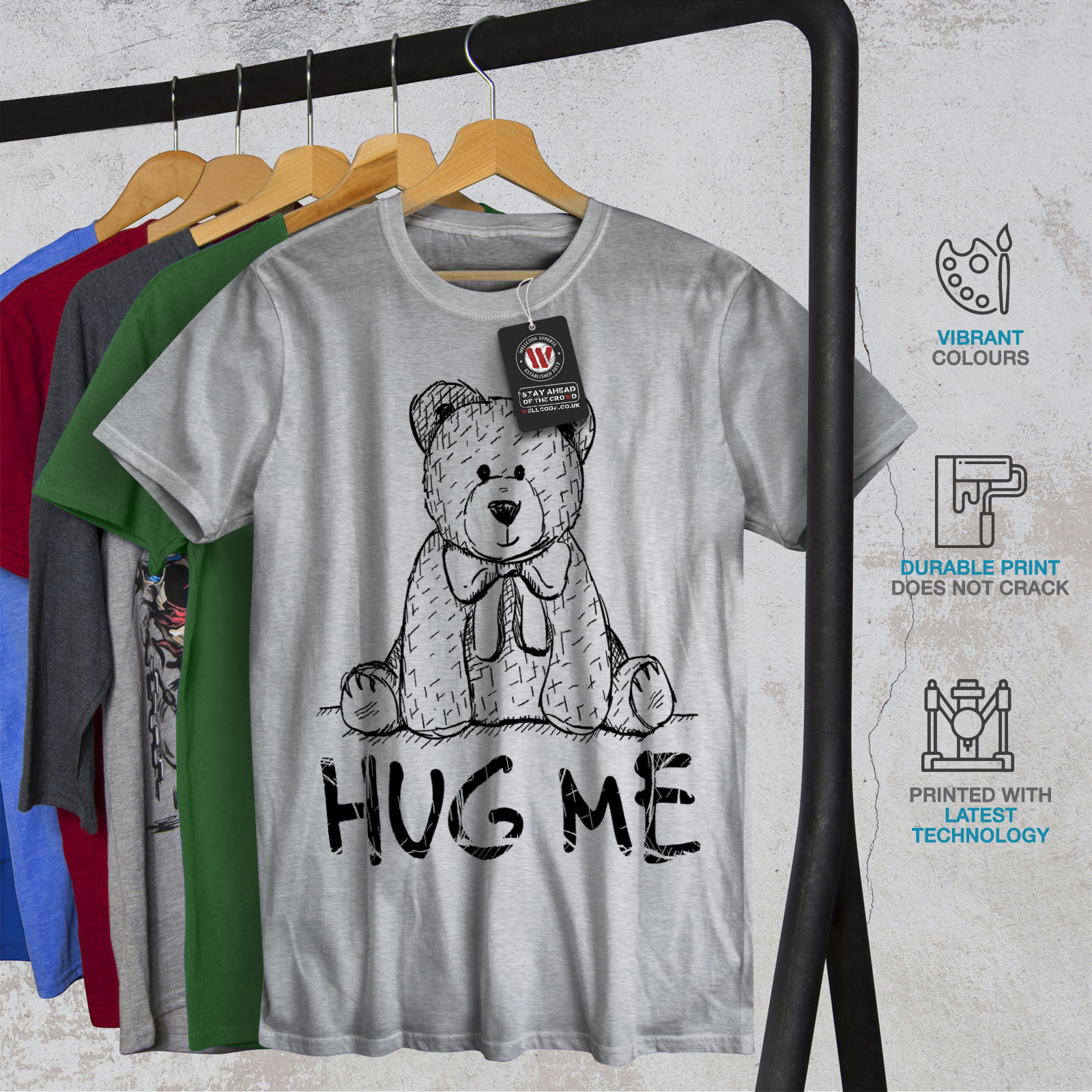 miniature 18 - Wellcoda Hug Me Teddy Bear Mens T-shirt, Nice & Graphic Design Printed Tee