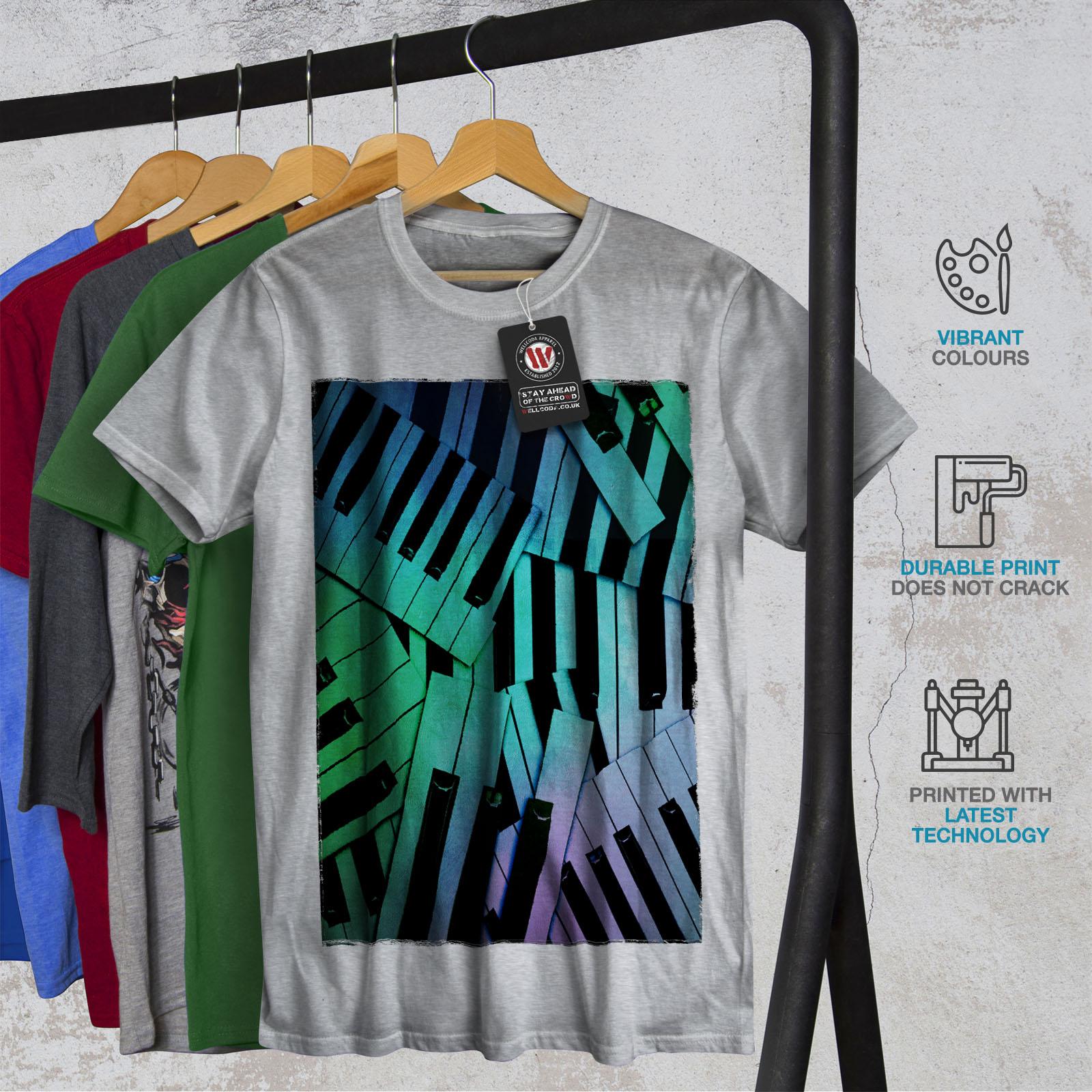Wellcoda Pianoforte Tastiera CANZONE Da Uomo T-shirt pianoforte design grafico stampato T-shirt