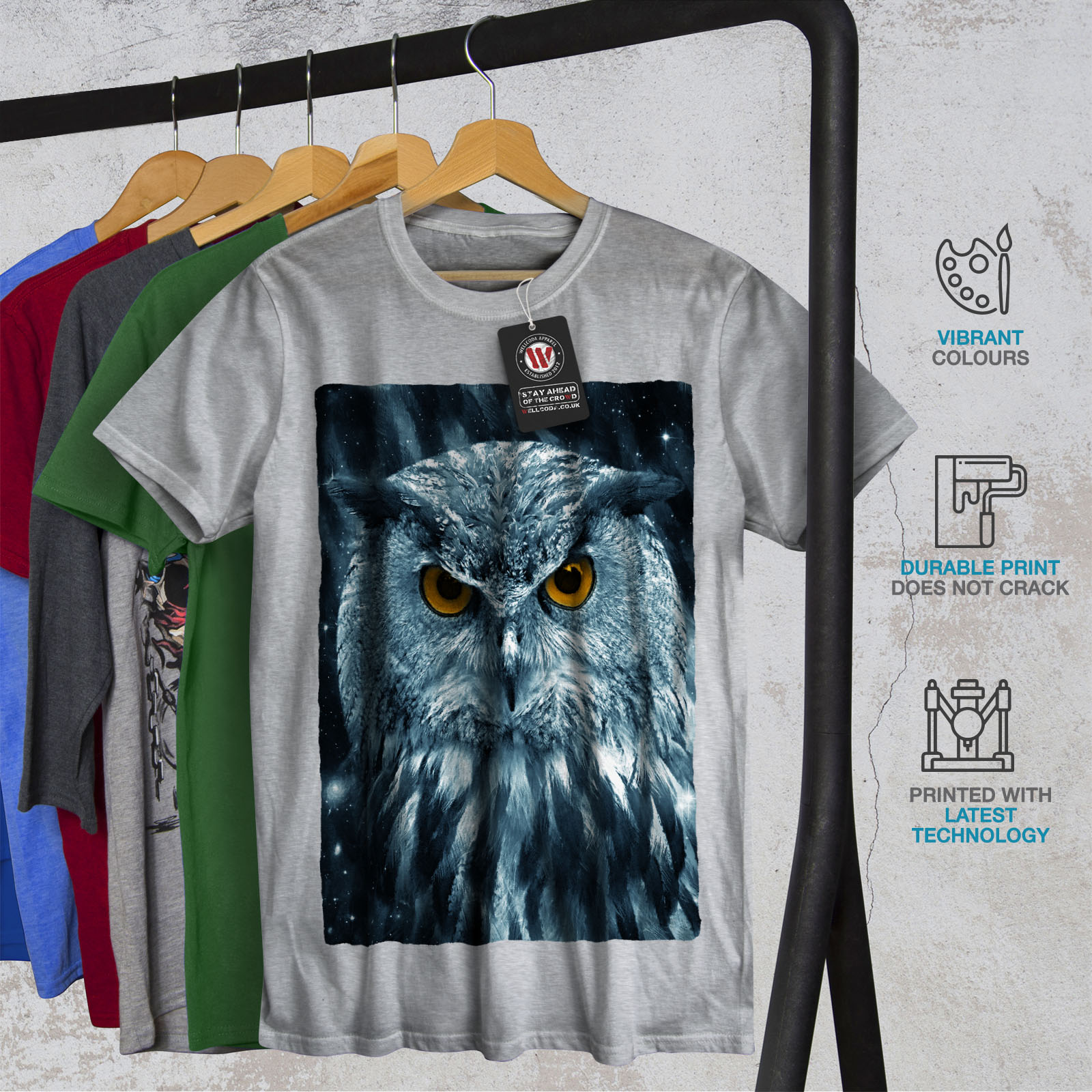 miniature 18 - Wellcoda-Wild-Looking-Owl-Mens-T-shirt-Mother-Graphic-Design-Printed-Tee