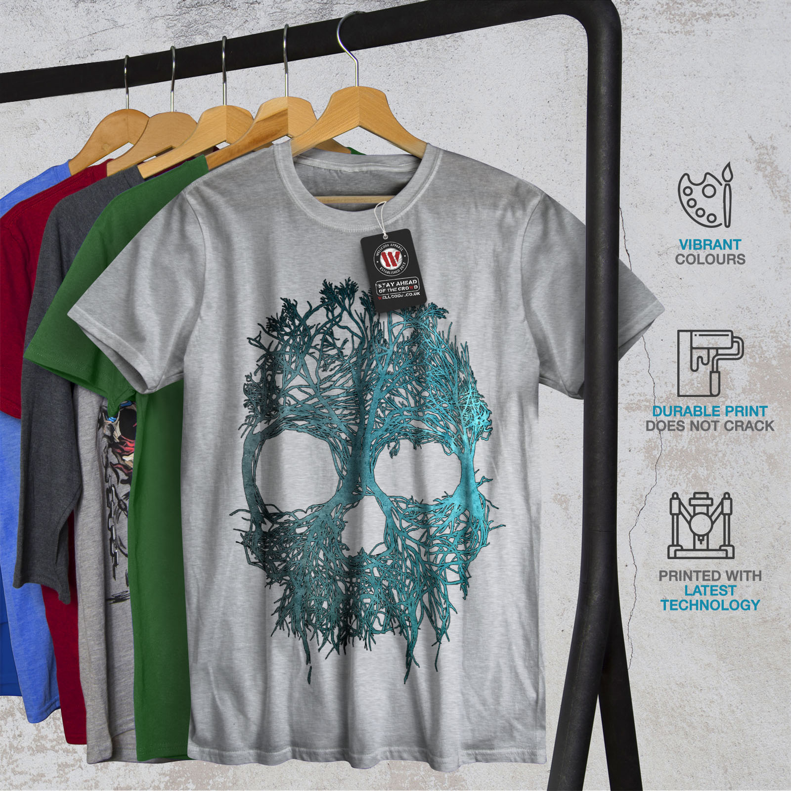 Men's Clothing Wellcoda Nature Tree Metal Skull Mens T-shirt Clothing, Shoes & Accessories Angel Graphic Design Printed Tee