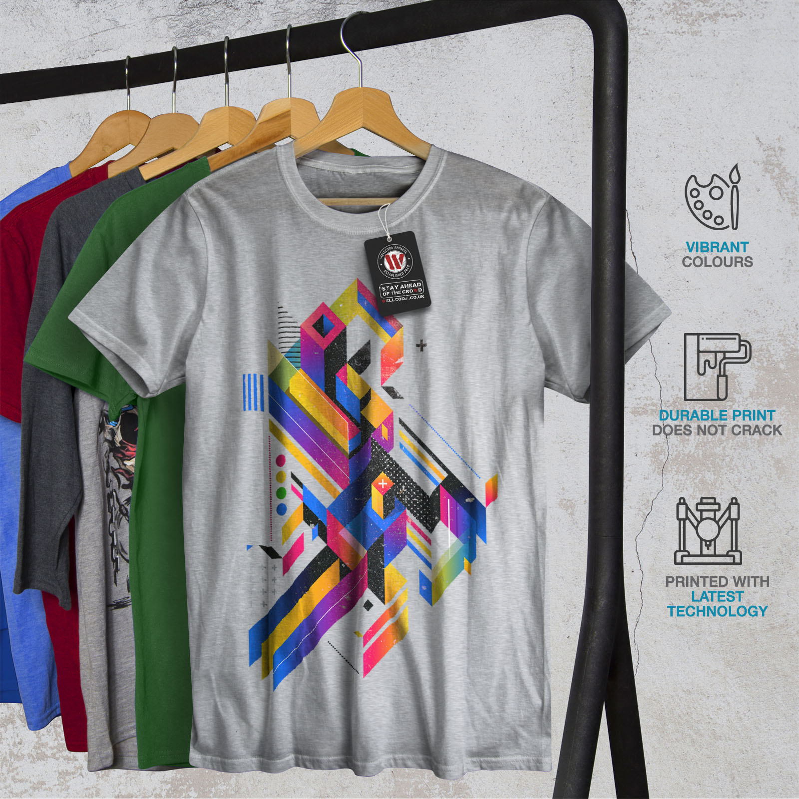 Wellcoda-Abstract-Maze-T-shirt-homme-Labyrinthe-conception-graphique-imprime-Tee miniature 18