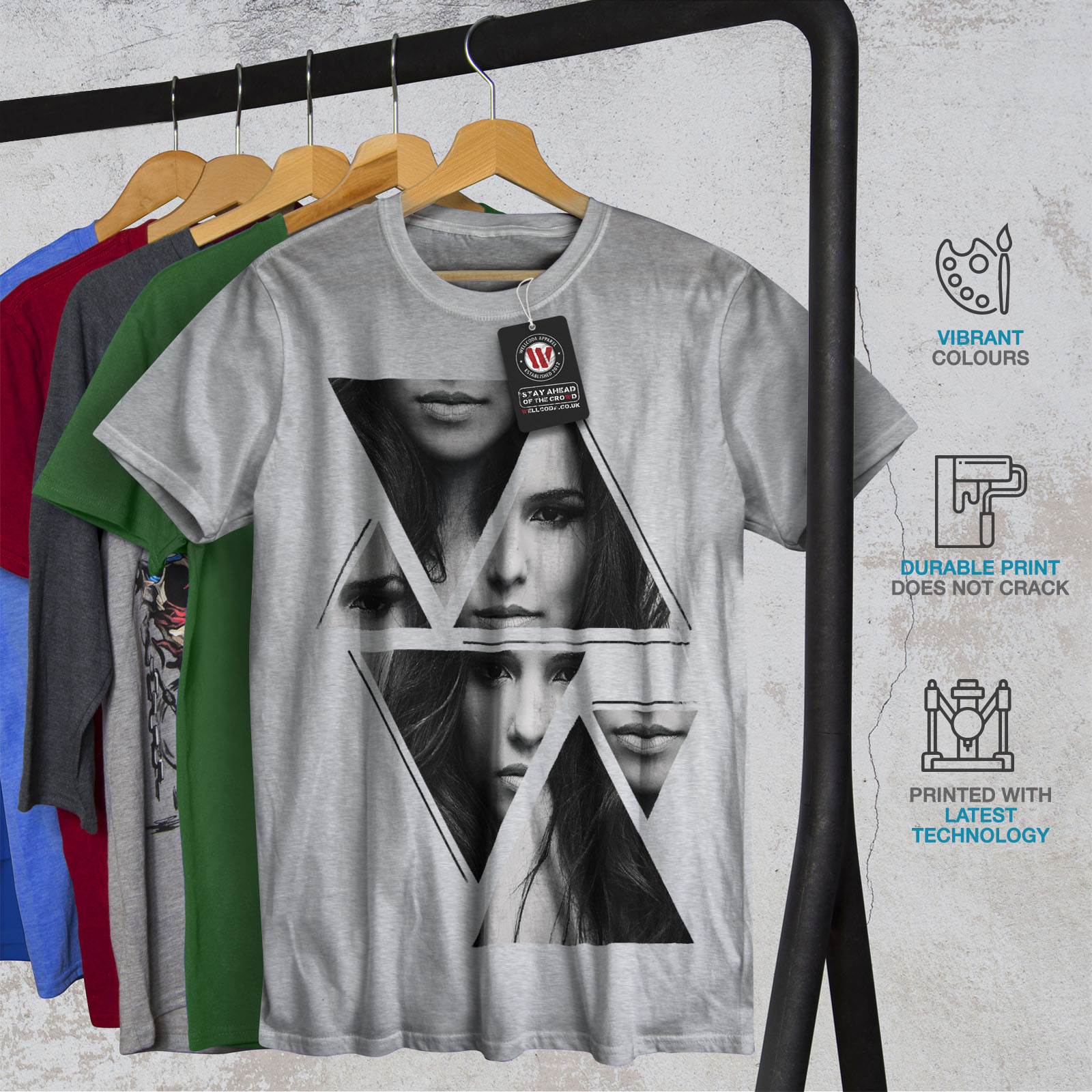 Wellcoda-Art-Fashion-Face-T-shirt-homme-Abstract-Design-graphique-imprime-Tee miniature 18