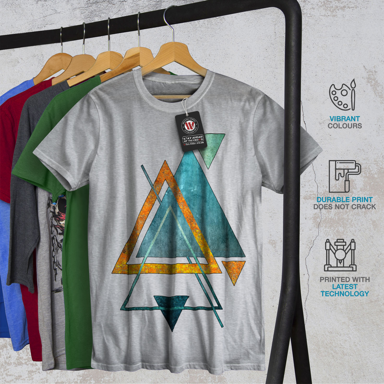 Wellcoda-Abstract-Triangle-T-shirt-homme-forme-design-graphique-imprime-Tee miniature 18