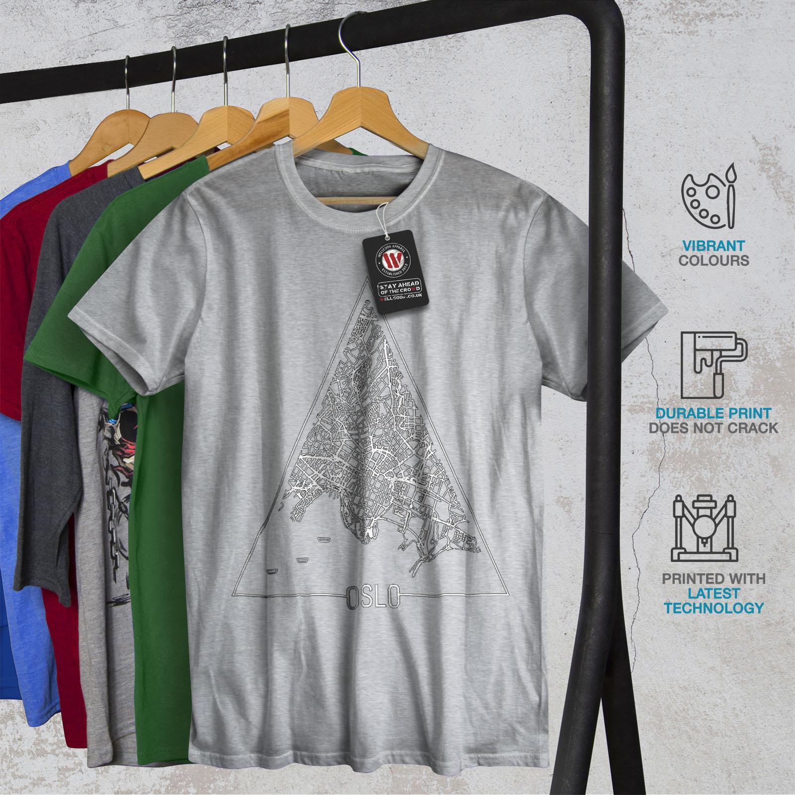Wellcoda-Norvegia-Big-City-Oslo-da-uomo-T-shirt-Citta-design-grafico-stampato-T-shirt miniatura 18