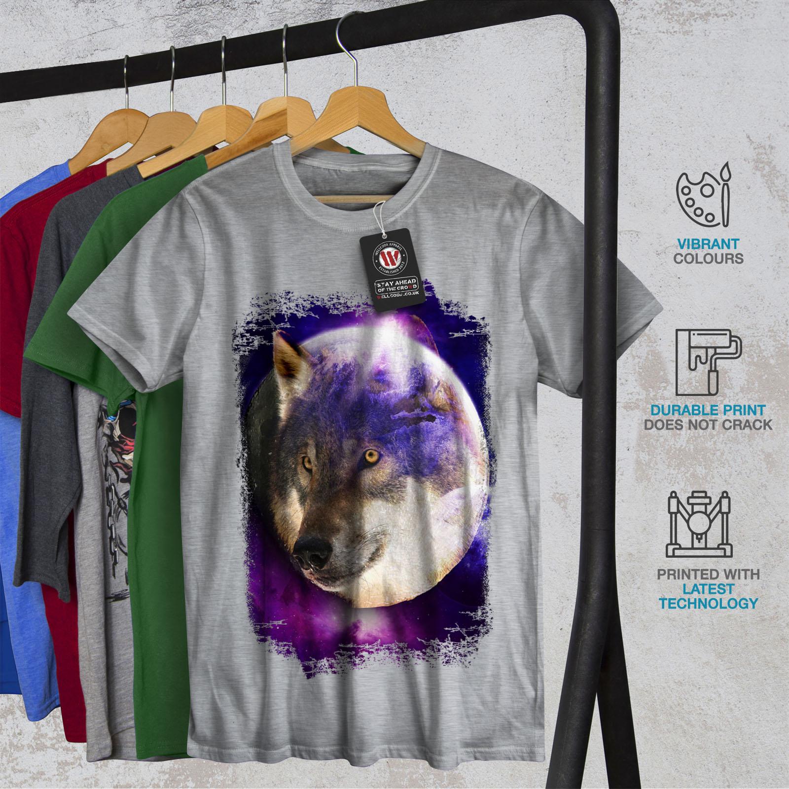 Wellcoda Moon Animal Loup T-shirt homme Animal Visage design graphique imprimé Tee