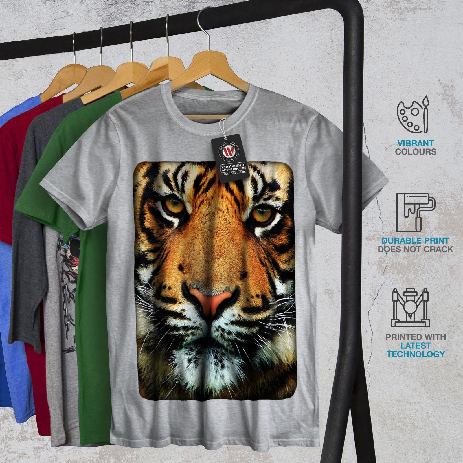 Wellcoda Tiger Face Nature Animal Womens Long Sleeve T-shirt Wild Casual Design