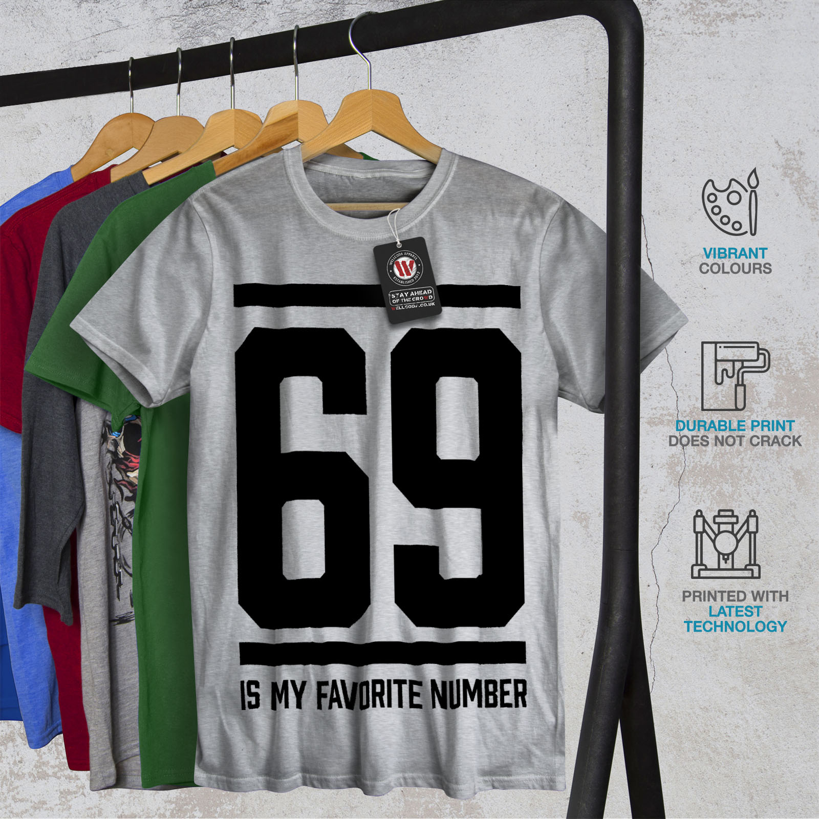 Wellcoda-69-Favorite-Number-Mens-T-shirt-Sports-Graphic-Design-Printed-Tee thumbnail 18