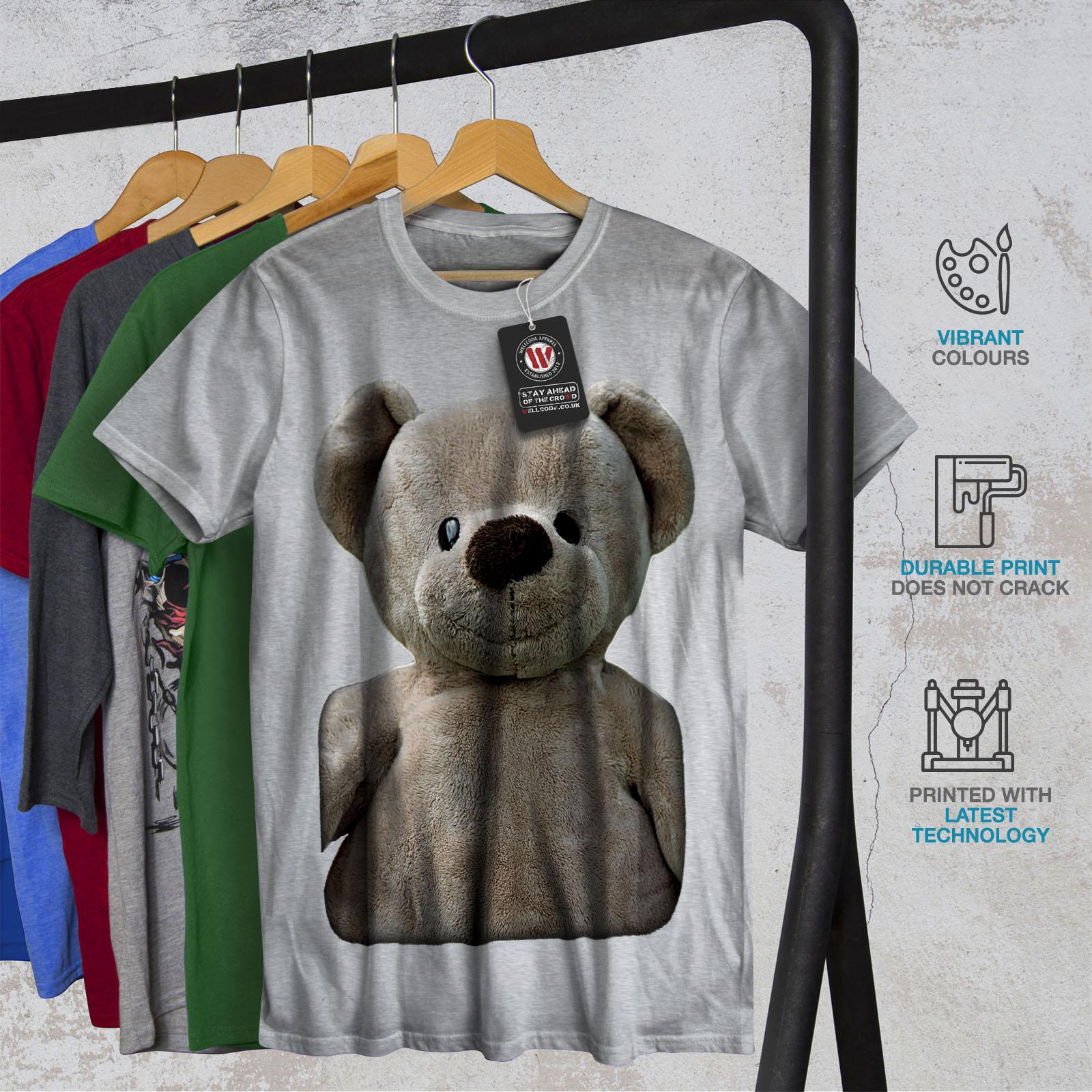 miniature 18 - Wellcoda Cute Plush Mens T-shirt, Teddy Bear Graphic Design Printed Tee