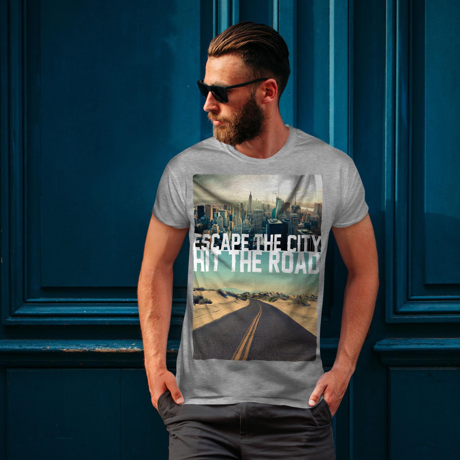 Wellcoda-Escape-The-City-Herren-T-Shirt-Lifestyle-Grafikdesign-Printed-Tee Indexbild 16