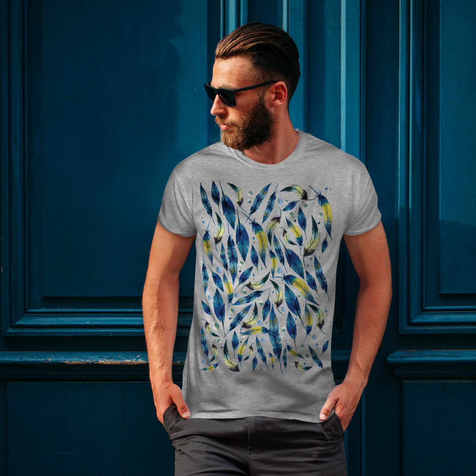 Wellcoda-fashion-Plumes-T-shirt-homme-Abstract-Design-graphique-imprime-Tee miniature 16