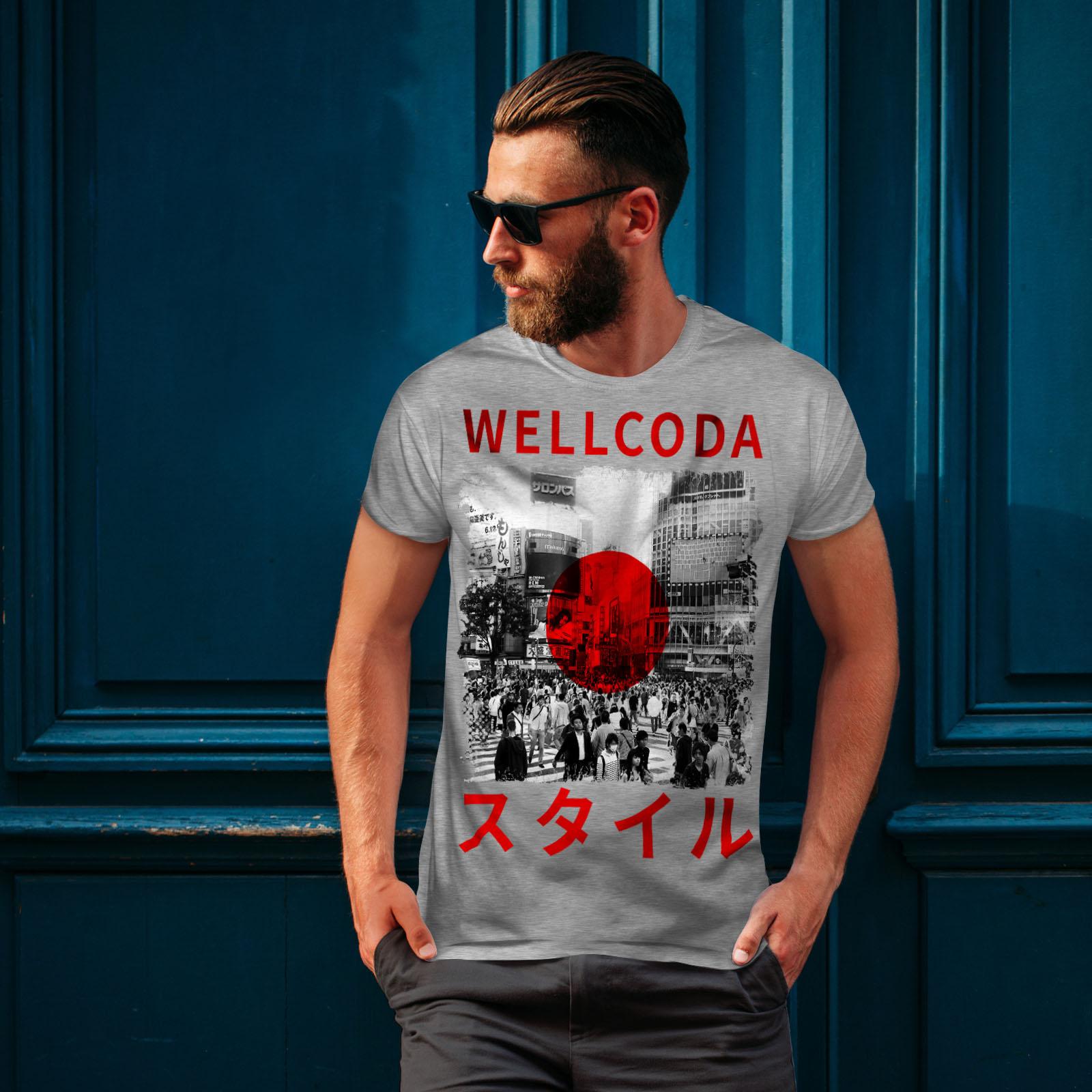 Japanese Graphic Design Printed Tee Wellcoda Japan Style Flag Mens T-shirt