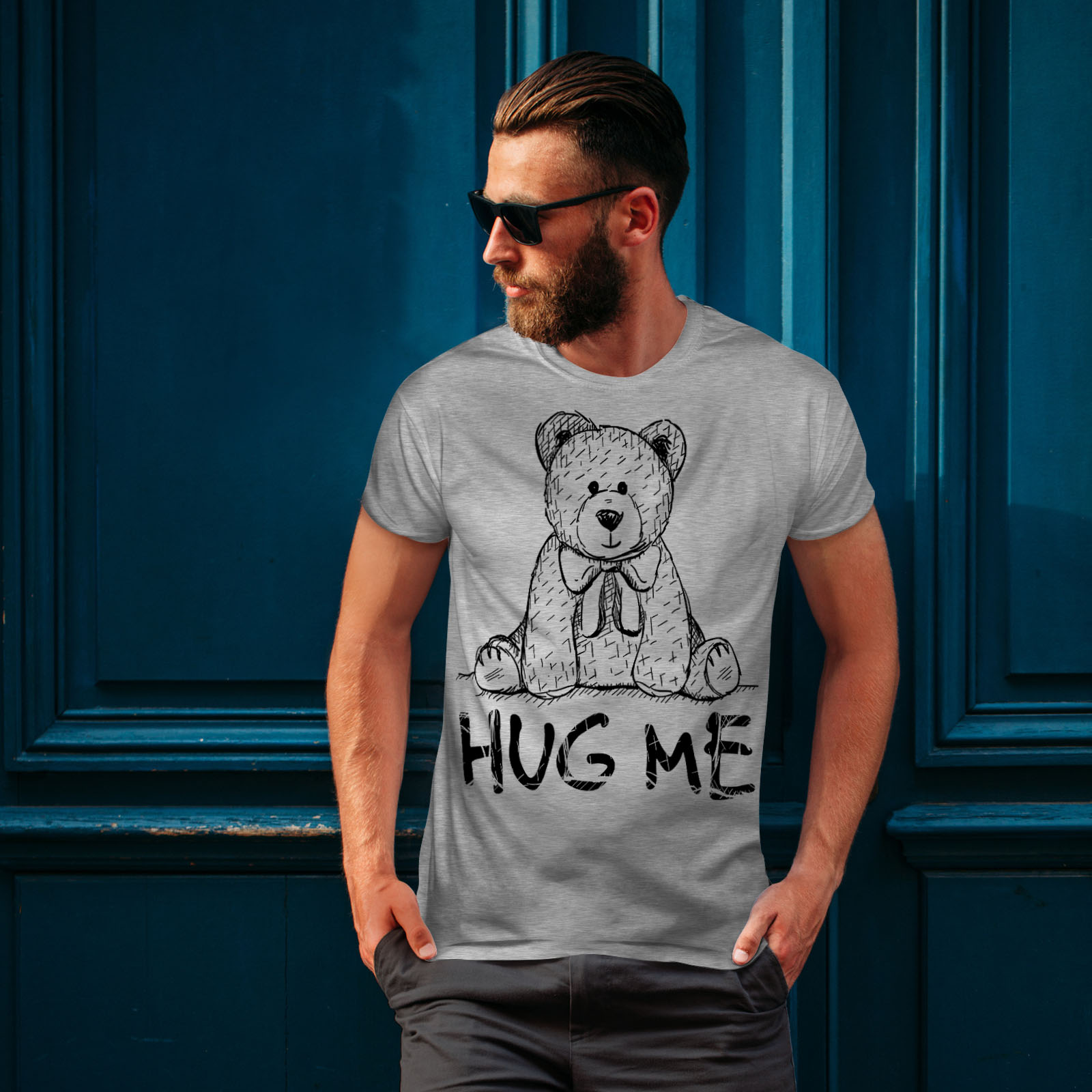 miniature 16 - Wellcoda Hug Me Teddy Bear Mens T-shirt, Nice & Graphic Design Printed Tee