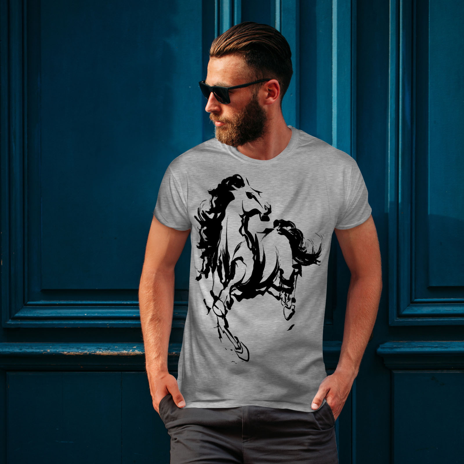 Wellcoda Horse Cool Printed Mens T-shirt Wild Graphic Design Printed Tee
