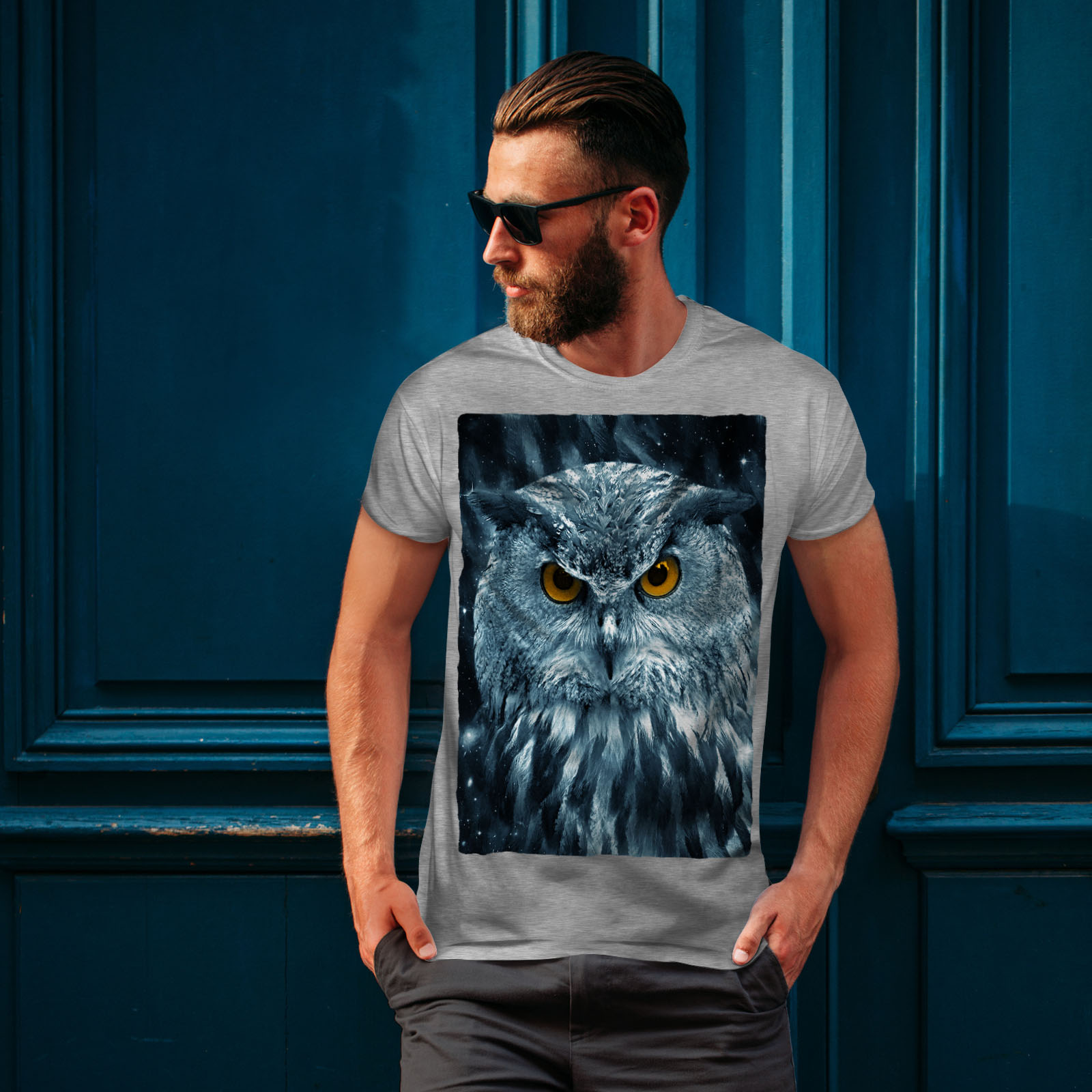 miniature 16 - Wellcoda-Wild-Looking-Owl-Mens-T-shirt-Mother-Graphic-Design-Printed-Tee