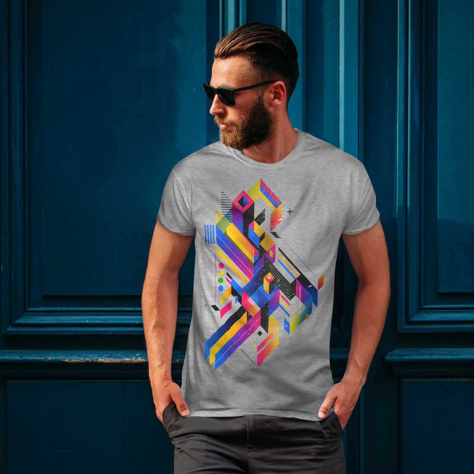 Wellcoda-Abstract-Maze-T-shirt-homme-Labyrinthe-conception-graphique-imprime-Tee miniature 16