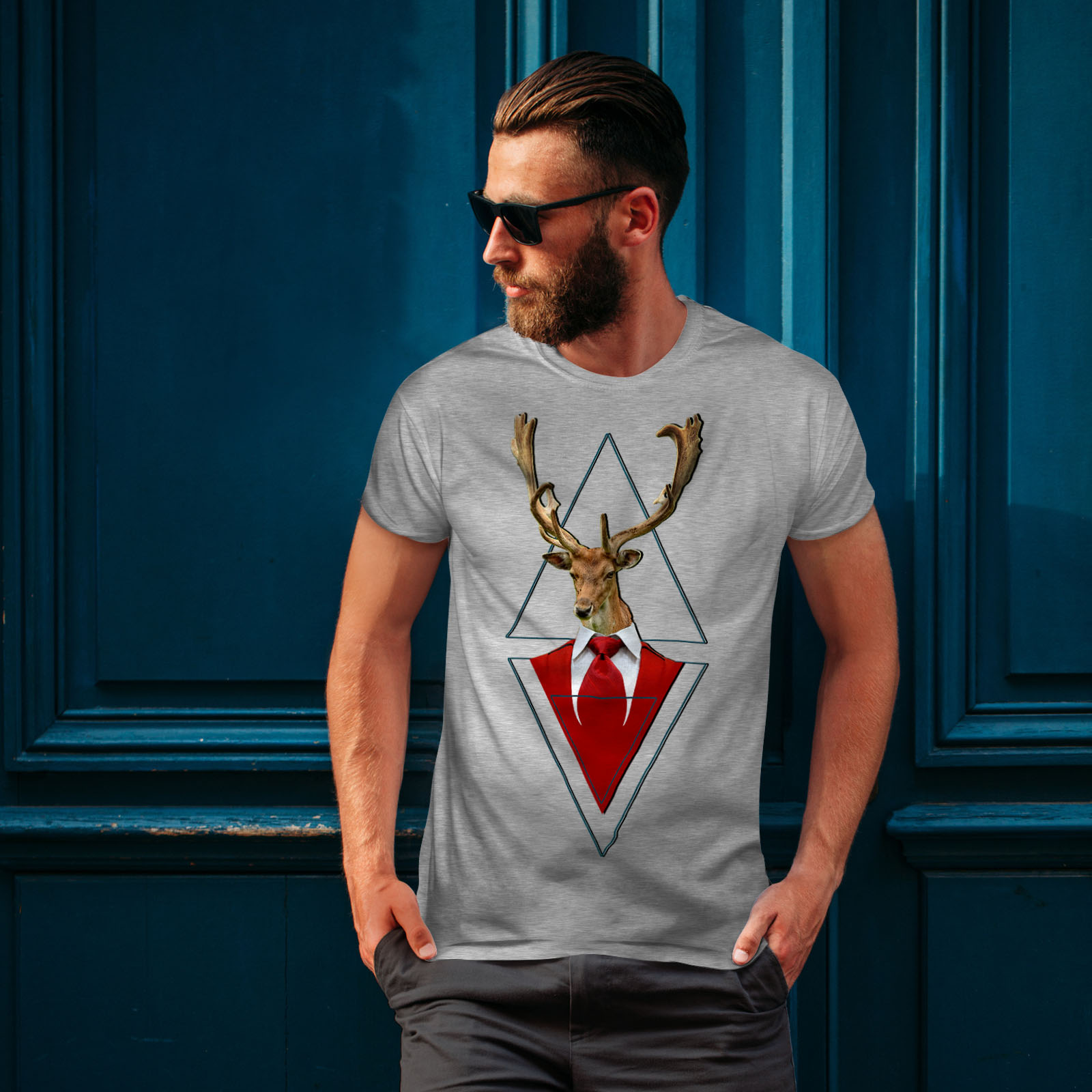 Wellcoda-Abstract-Animal-T-shirt-Homme-chic-design-graphique-imprime-Tee miniature 16