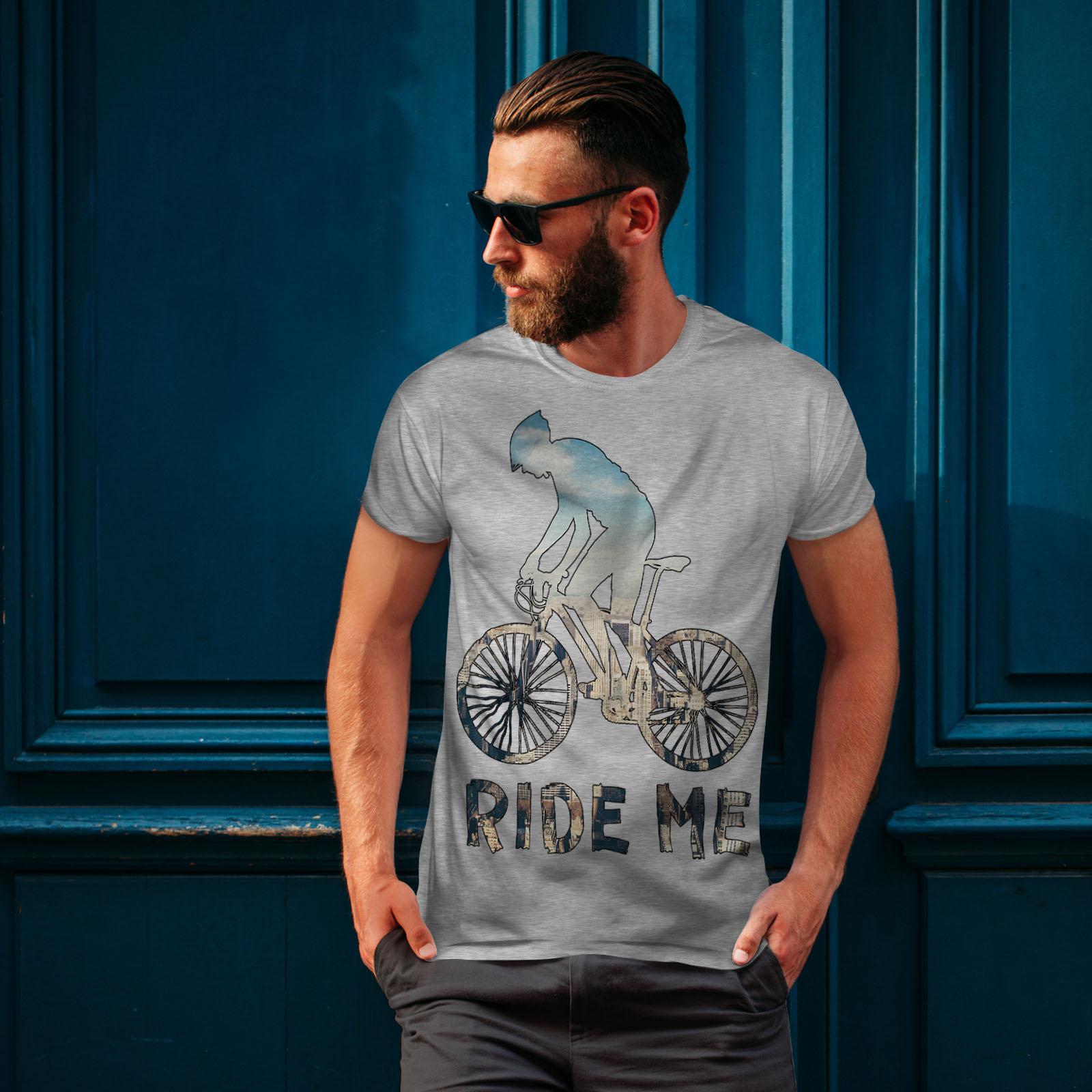 Wellcoda Ride me Bike Sport Mens T-shirt Action Graphic Design Printed Tee