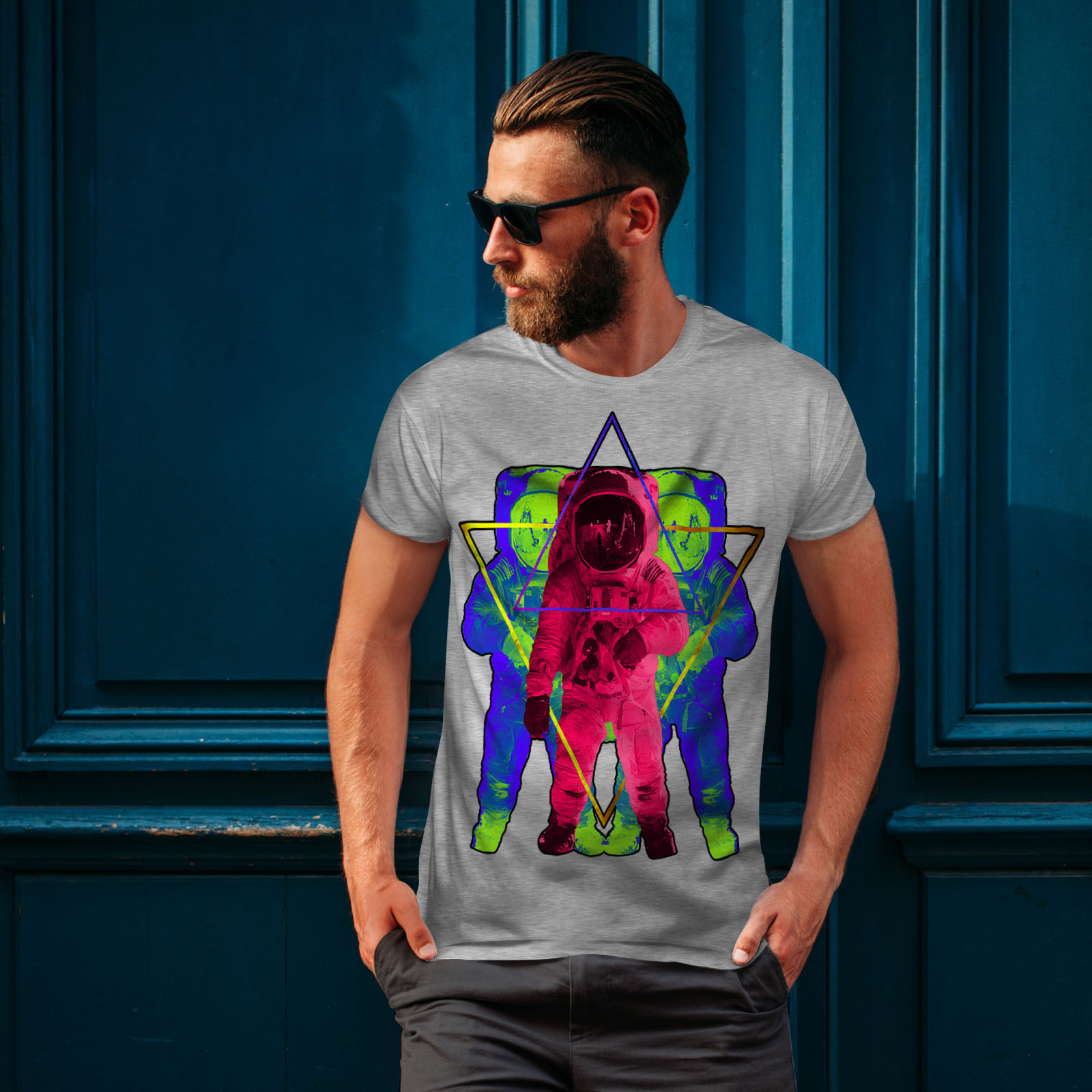 Wellcoda-Psychedelic-Astronaut-Mens-T-shirt-Star-Graphic-Design-Printed-Tee thumbnail 16