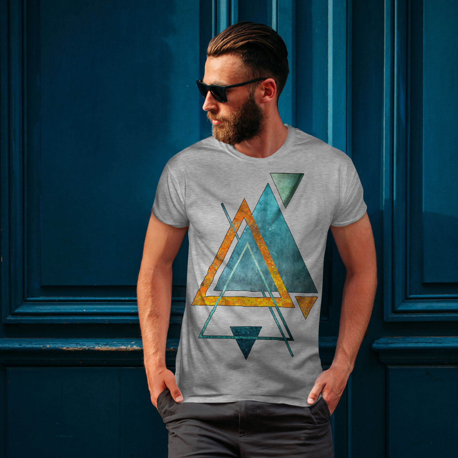 Wellcoda-Abstract-Triangle-T-shirt-homme-forme-design-graphique-imprime-Tee miniature 16