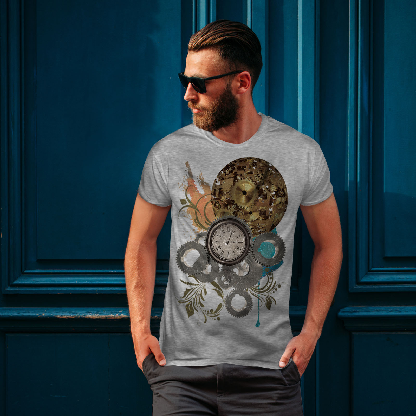 Wellcoda-Clock-Cool-Print-Mens-T-shirt-Illusion-Graphic-Design-Printed-Tee thumbnail 16