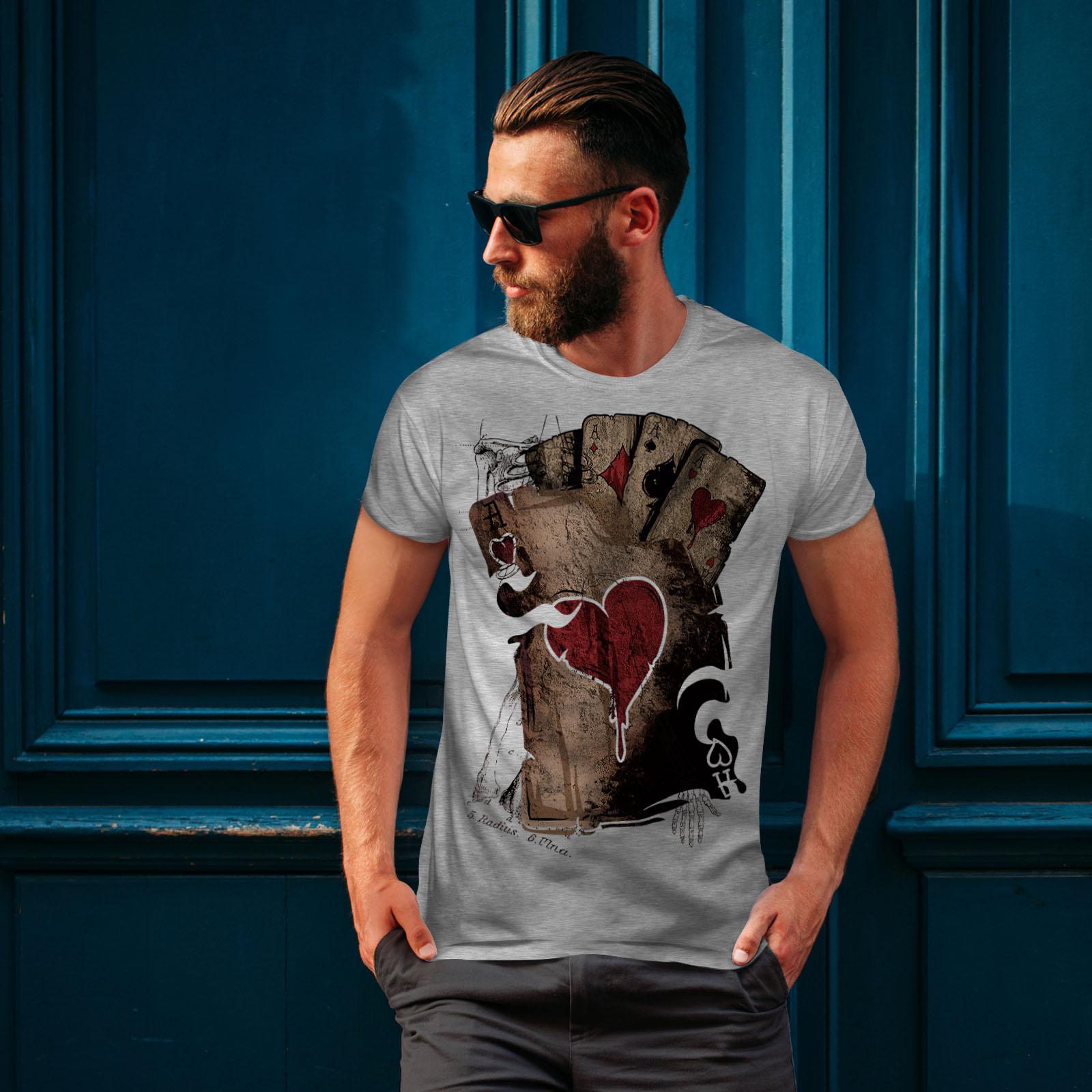 Wellcoda-Poker-Gamble-Squelette-T-shirt-homme-effrayant-conception-graphique-imprime-Tee miniature 16