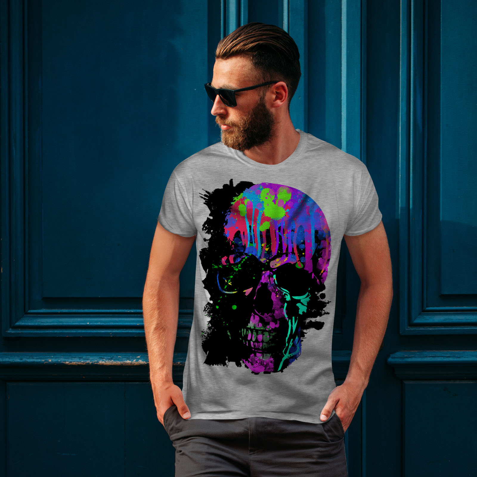 Wellcoda-Skull-Artsy-Mens-T-shirt-Neon-Night-Graphic-Design-Printed-Tee thumbnail 16