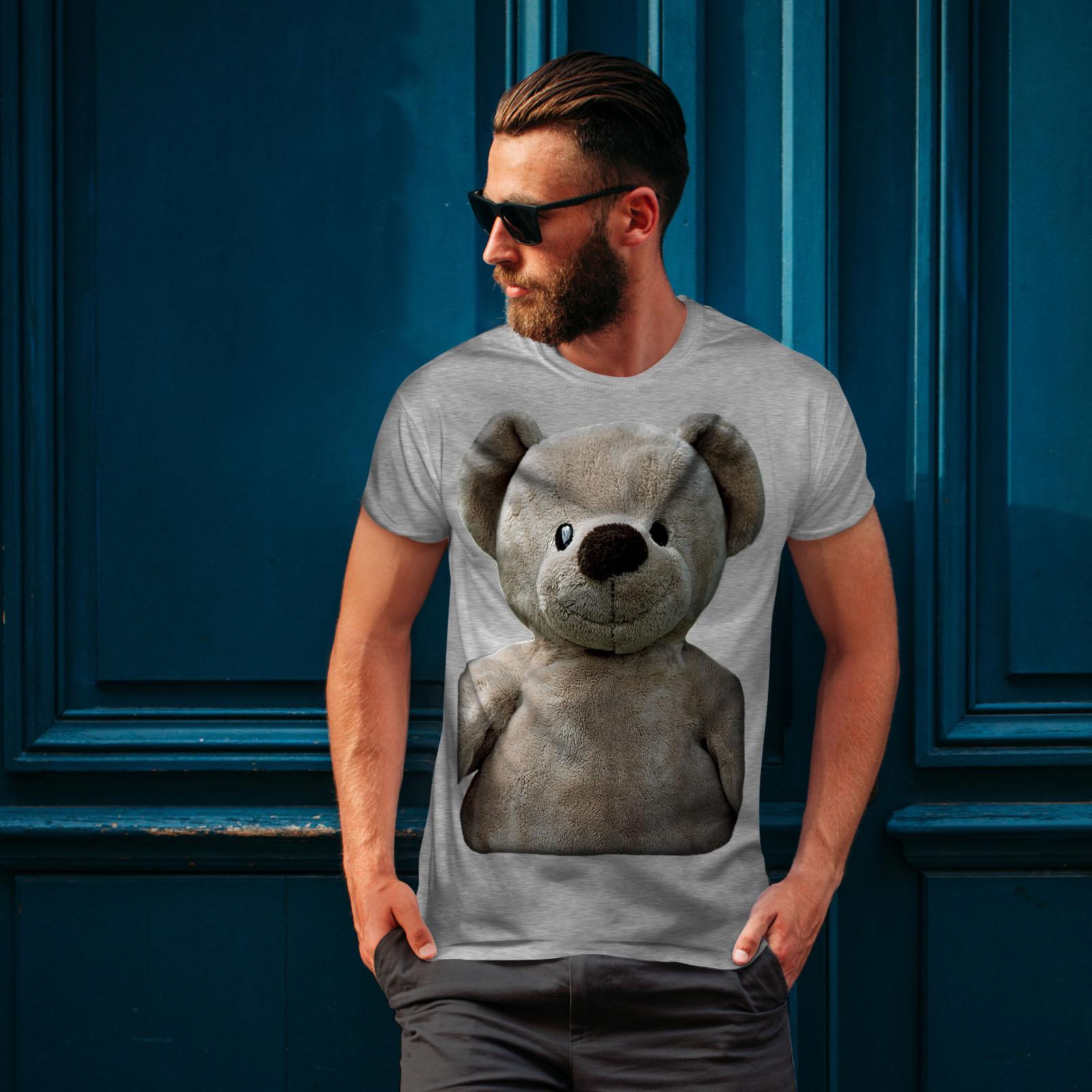 miniature 16 - Wellcoda Cute Plush Mens T-shirt, Teddy Bear Graphic Design Printed Tee