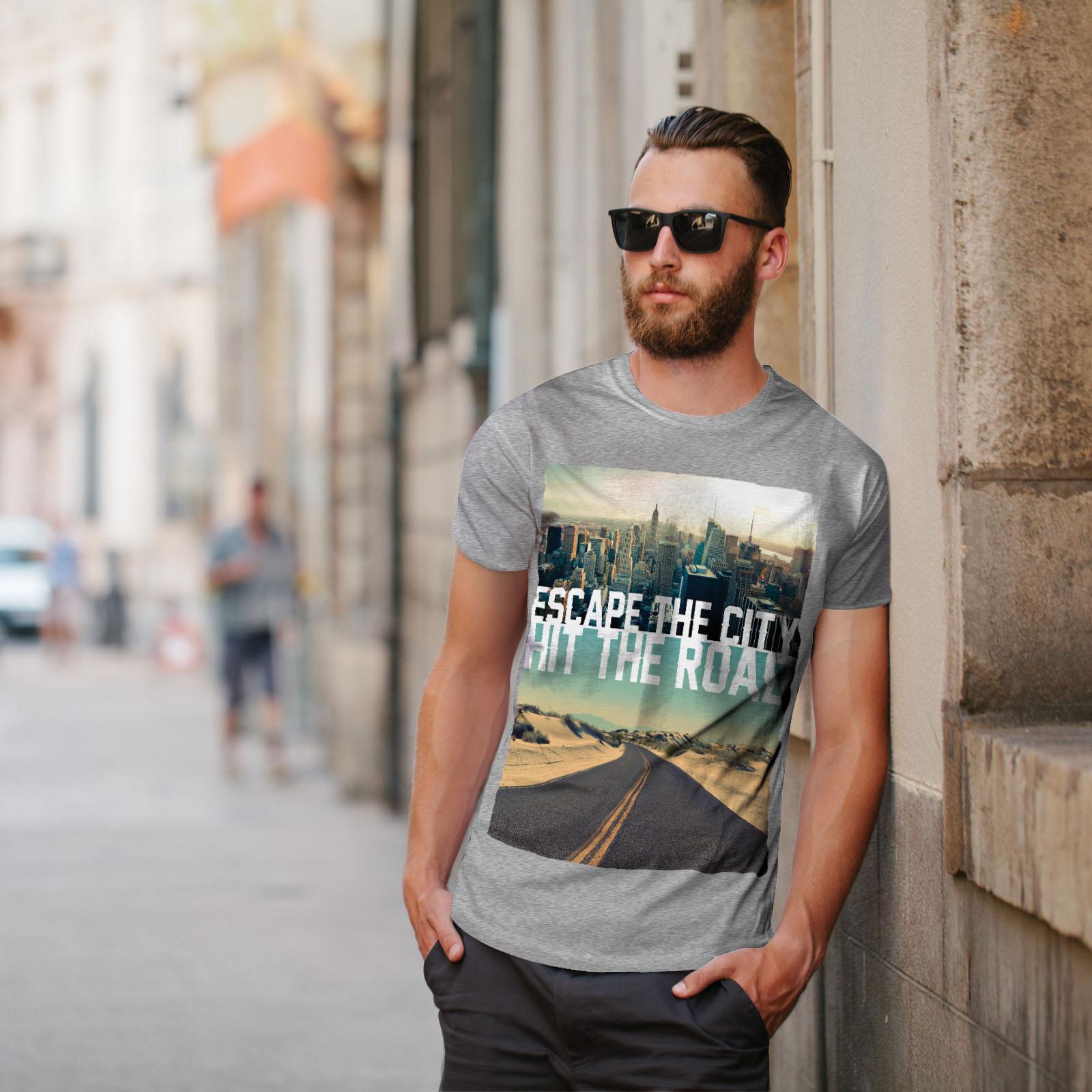 Wellcoda-Escape-The-City-Herren-T-Shirt-Lifestyle-Grafikdesign-Printed-Tee Indexbild 17