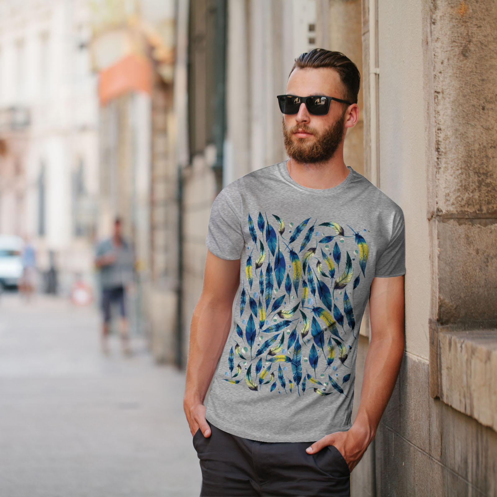 Wellcoda-fashion-Plumes-T-shirt-homme-Abstract-Design-graphique-imprime-Tee miniature 17