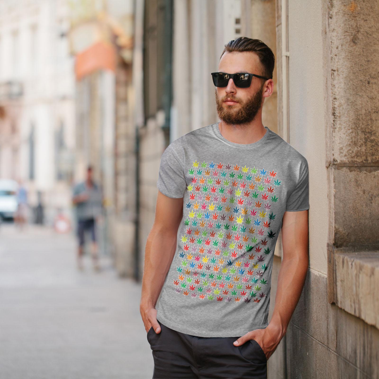 Wellcoda Marijuana Weed Leaf Mens T-shirt Rainbow Graphic Design Printed Tee