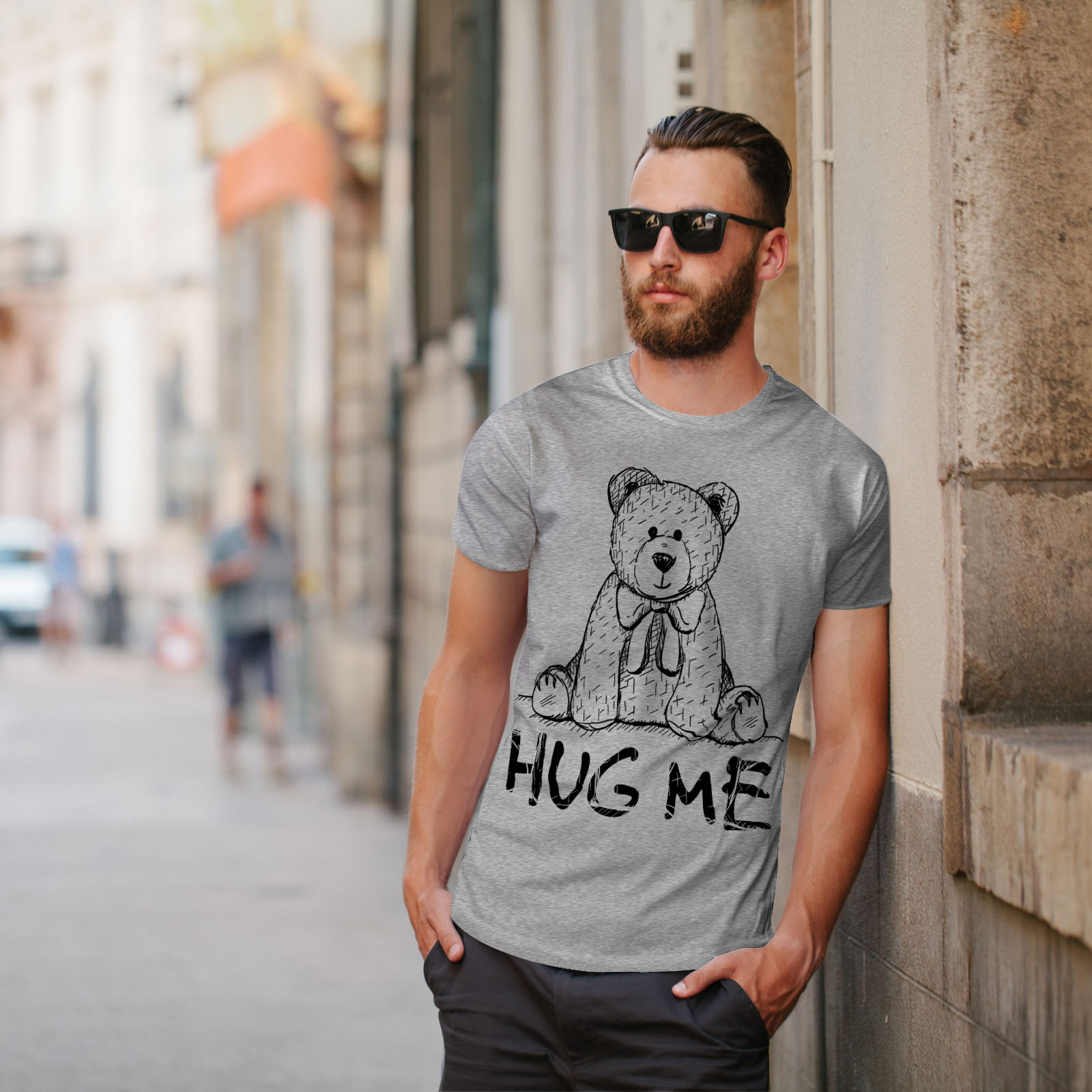miniature 17 - Wellcoda Hug Me Teddy Bear Mens T-shirt, Nice & Graphic Design Printed Tee