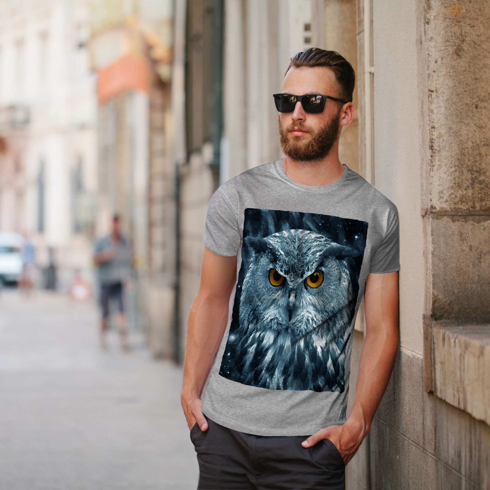 miniature 17 - Wellcoda-Wild-Looking-Owl-Mens-T-shirt-Mother-Graphic-Design-Printed-Tee