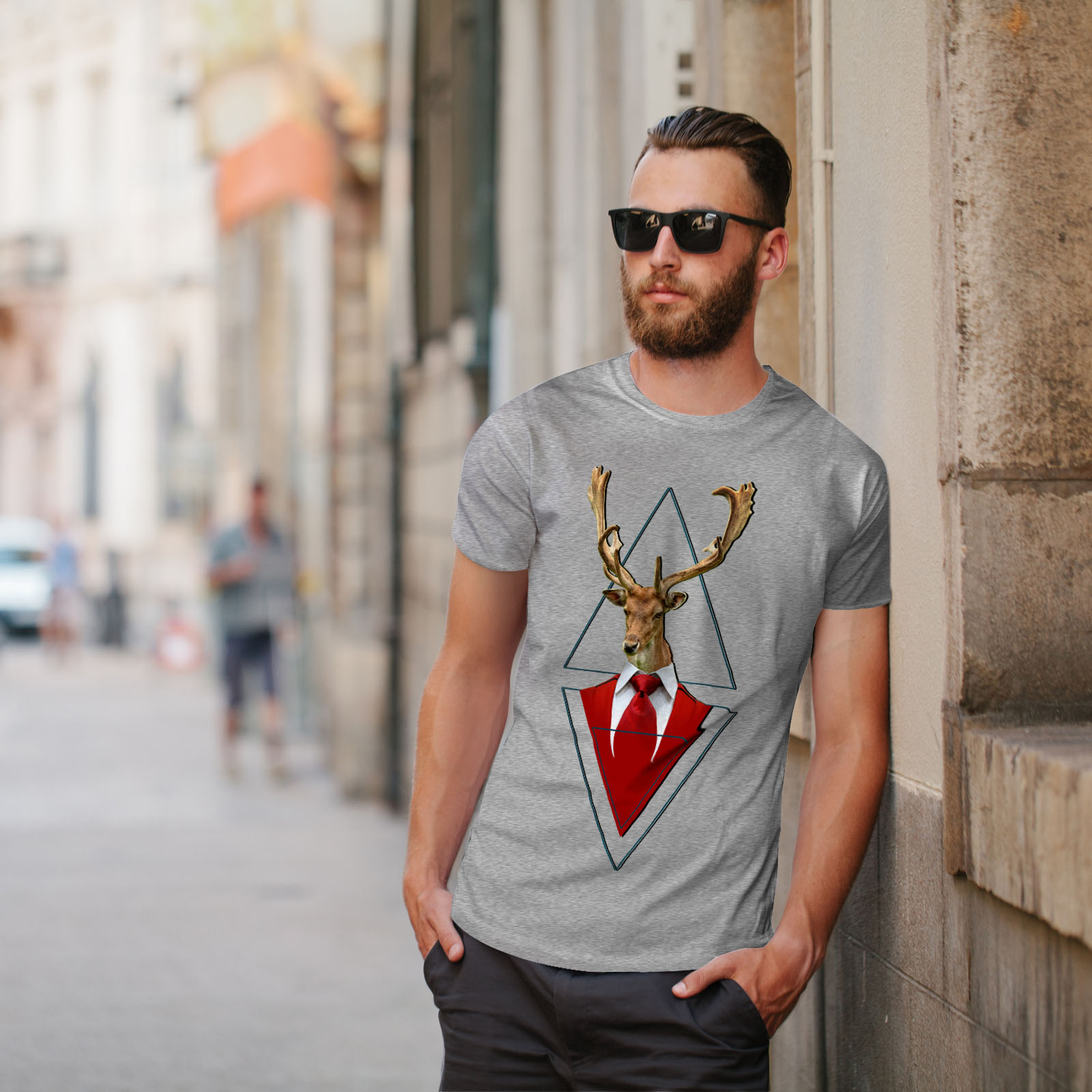Wellcoda-Abstract-Animal-T-shirt-Homme-chic-design-graphique-imprime-Tee miniature 17